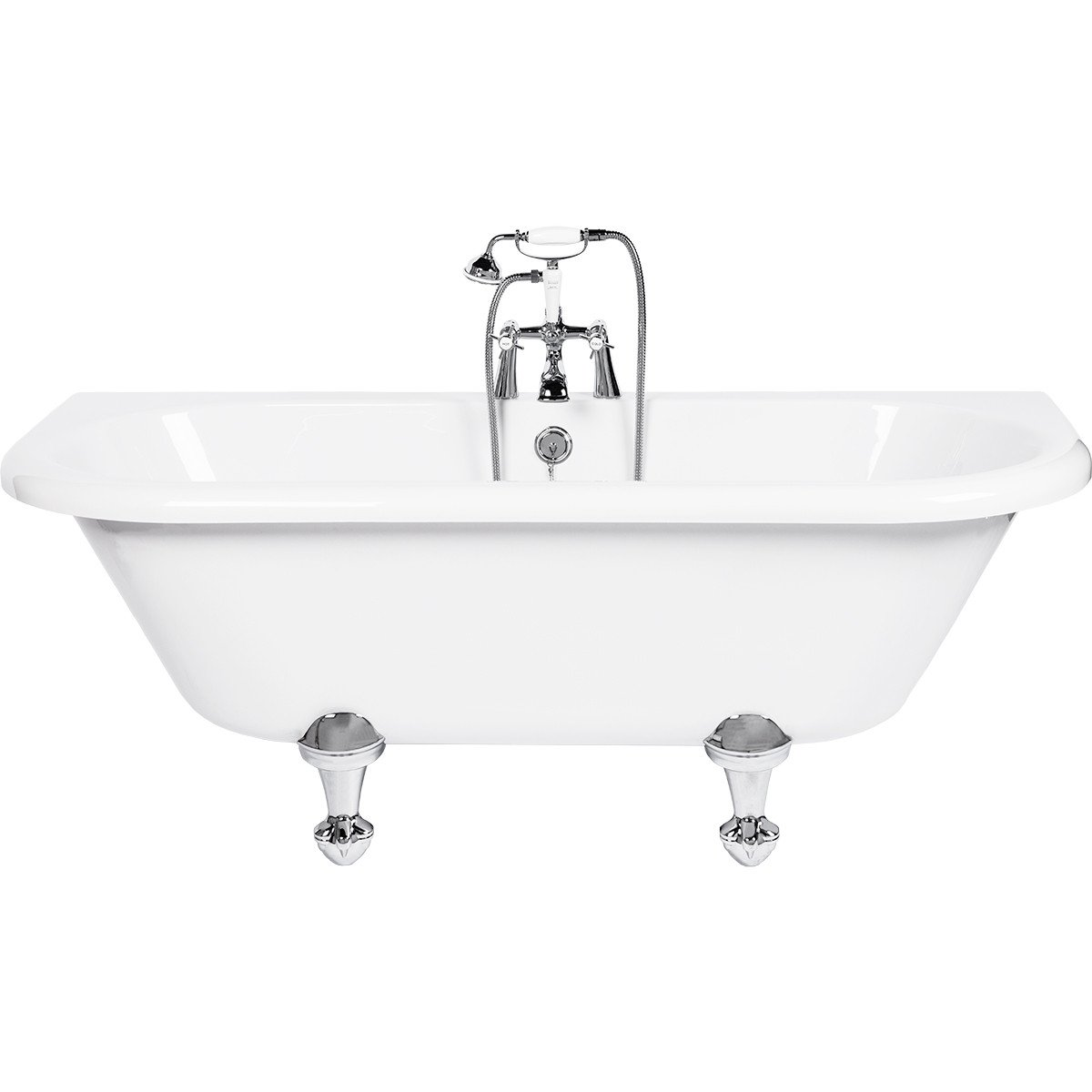 Kildwick 1700mm x 750mm Back to Wall Freestanding Bath with Traditional Feet