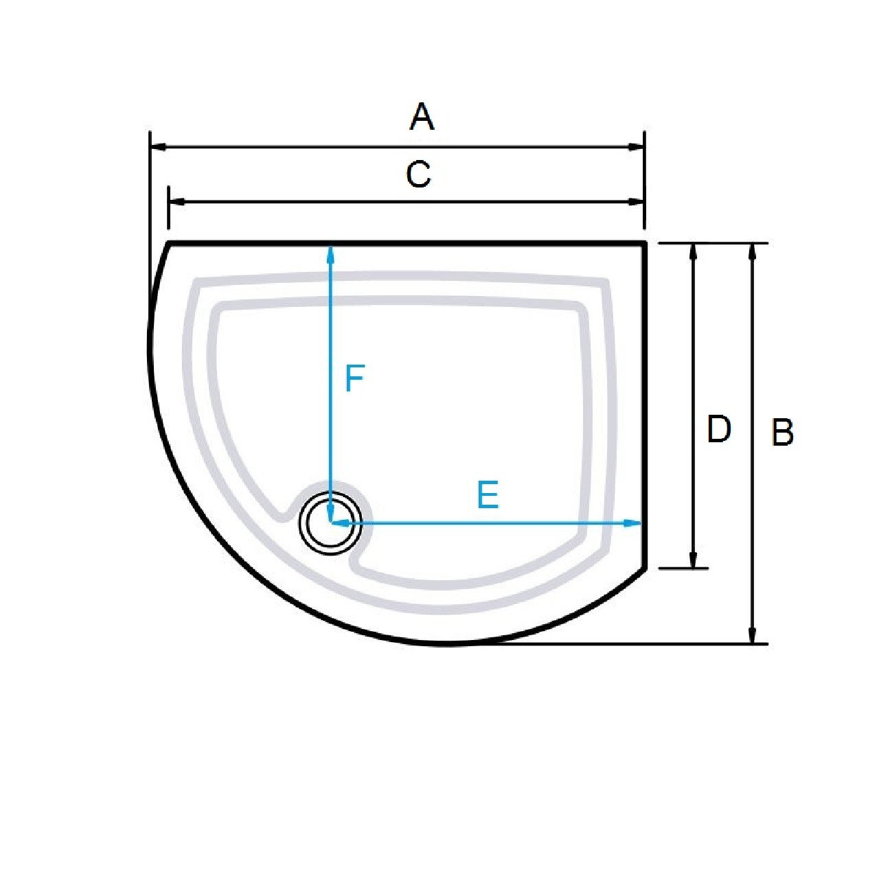 Kudos Concept 2 Shower Tray 1000 x 810 Offset Curved Left DCOS108LW