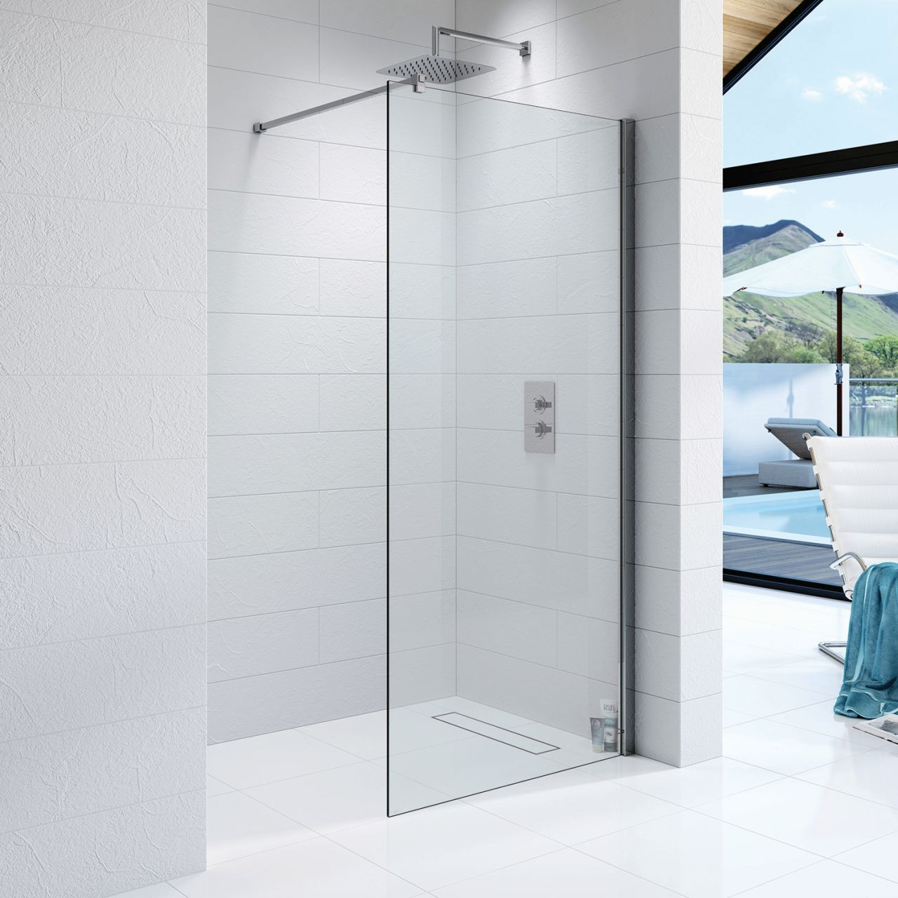 Kudos Ultimate 10mm 1200mm x 700mm Complete Recess Walk In Shower Enclosure - 10WIR1270