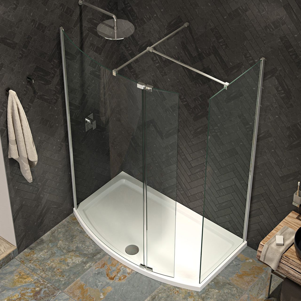 Kudos Ultimate 8mm 1000mm x 1986mm Curved Wetroom Shower Screen - 5WPCV1000