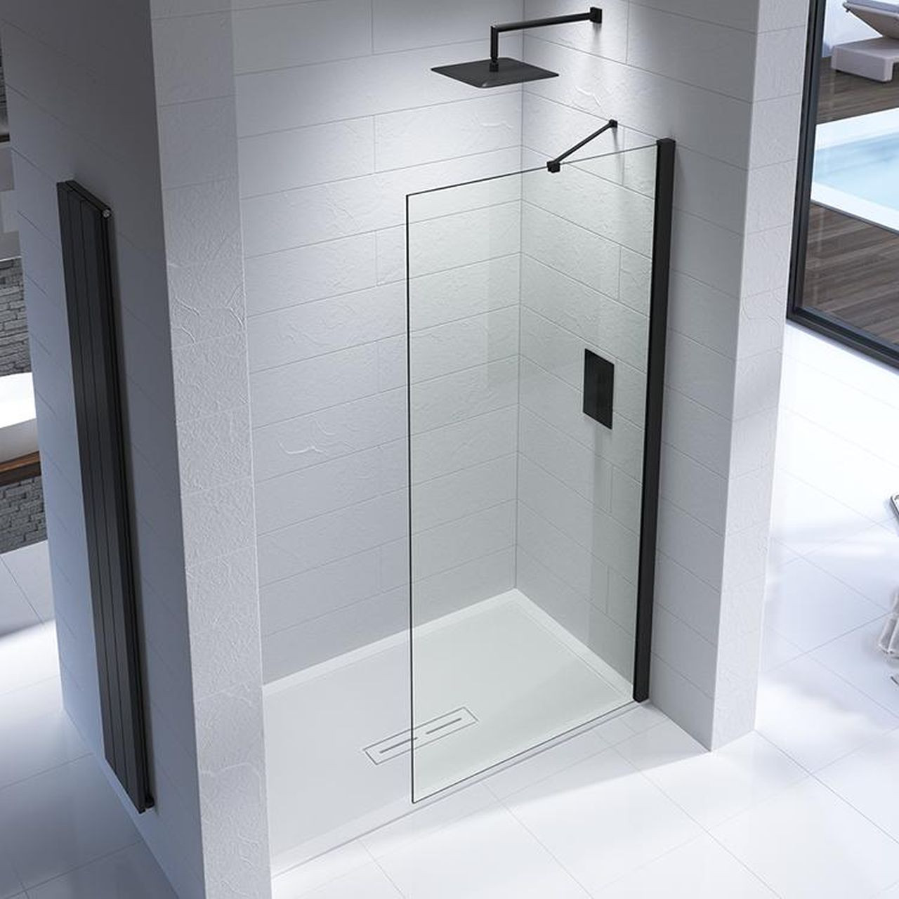 Kudos Ultimate Black 10mm 1500mm x 800mm Complete Recess Walk In Shower Enclosure - U10RP1580MBK