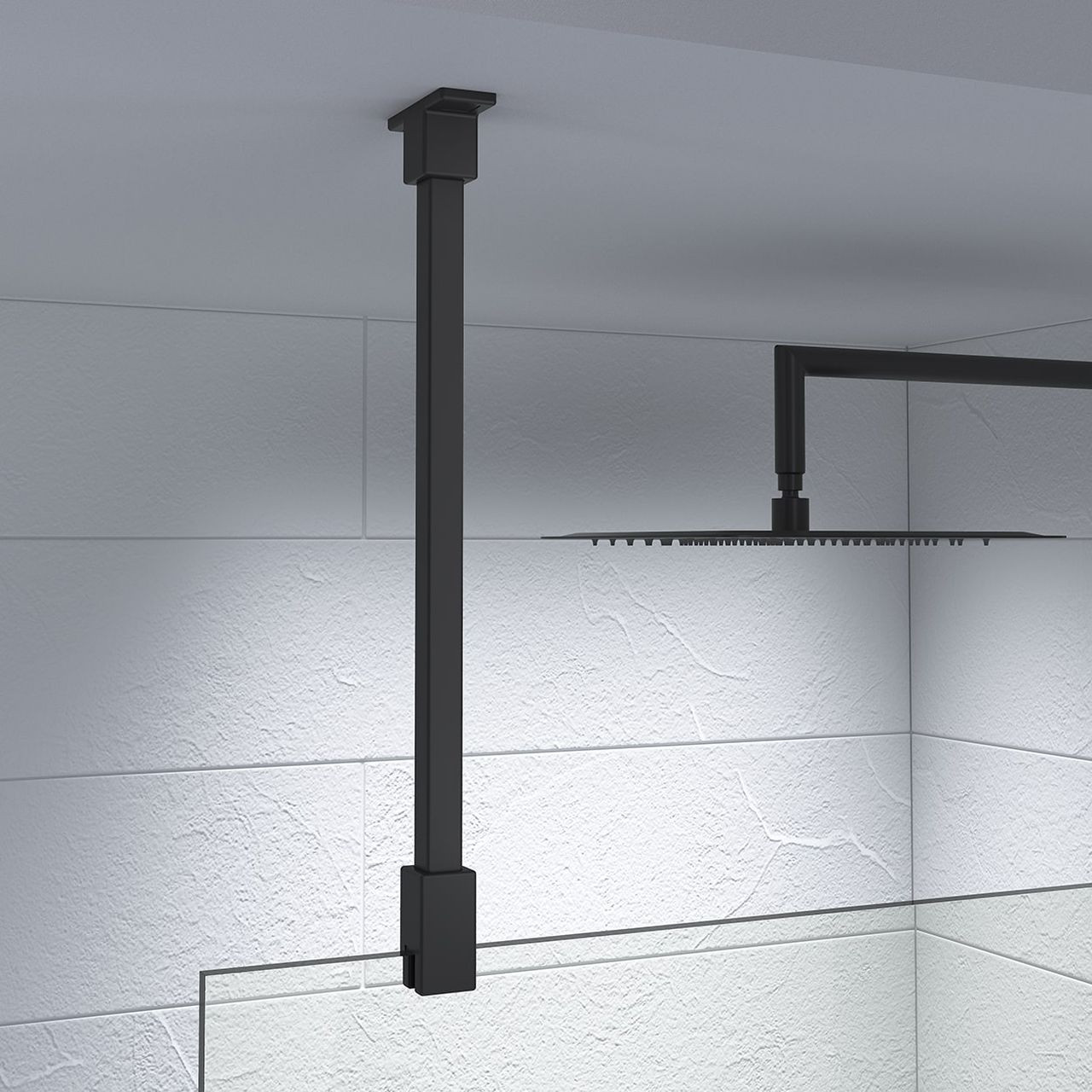 Kudos Ultimate Black 600mm Glass to Ceiling Stabilising Bar - 10WPGCMBK