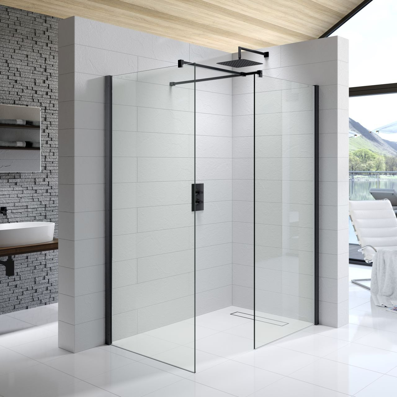 Kudos Ultimate Black 8mm 1400mm x 900mm Complete Corner Walk In Shower Enclosure - U8CP1490MBK