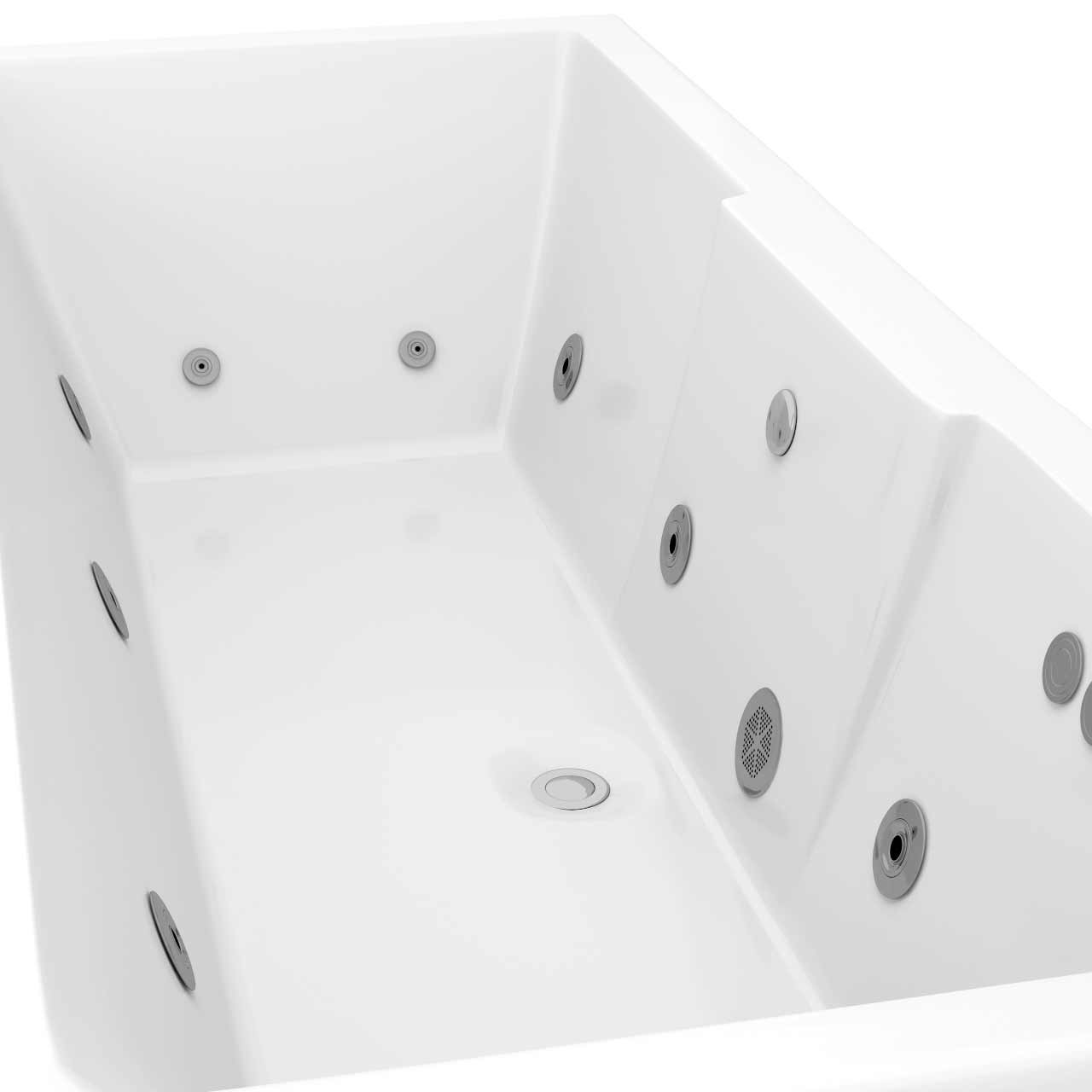 Legend Left Hand 12 Jet Chrome Flat Jet Whirlpool Bath 1700x700mm