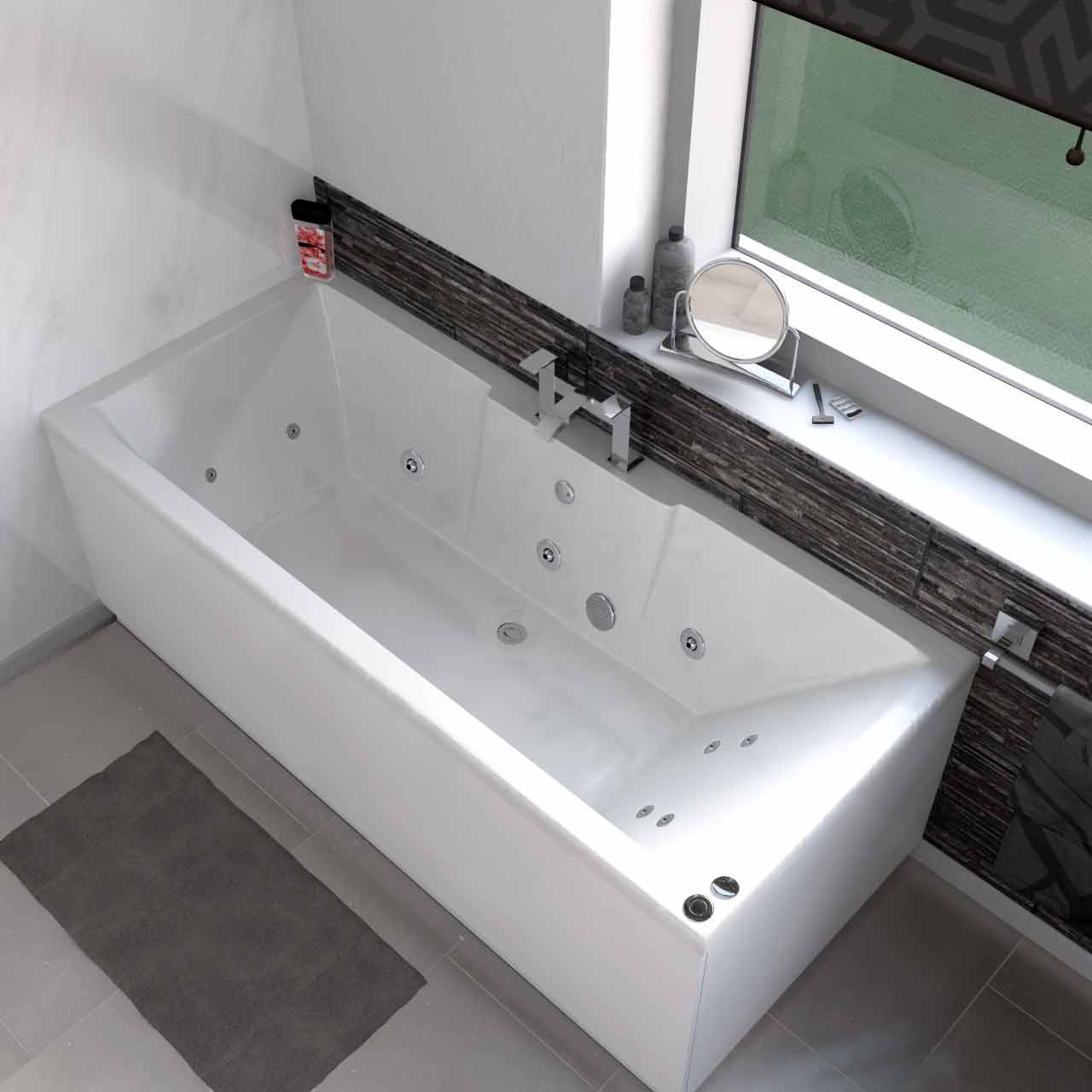 Legend Left Hand 12 Jet Chrome V-Tec Whirlpool Bath 1600x700mm