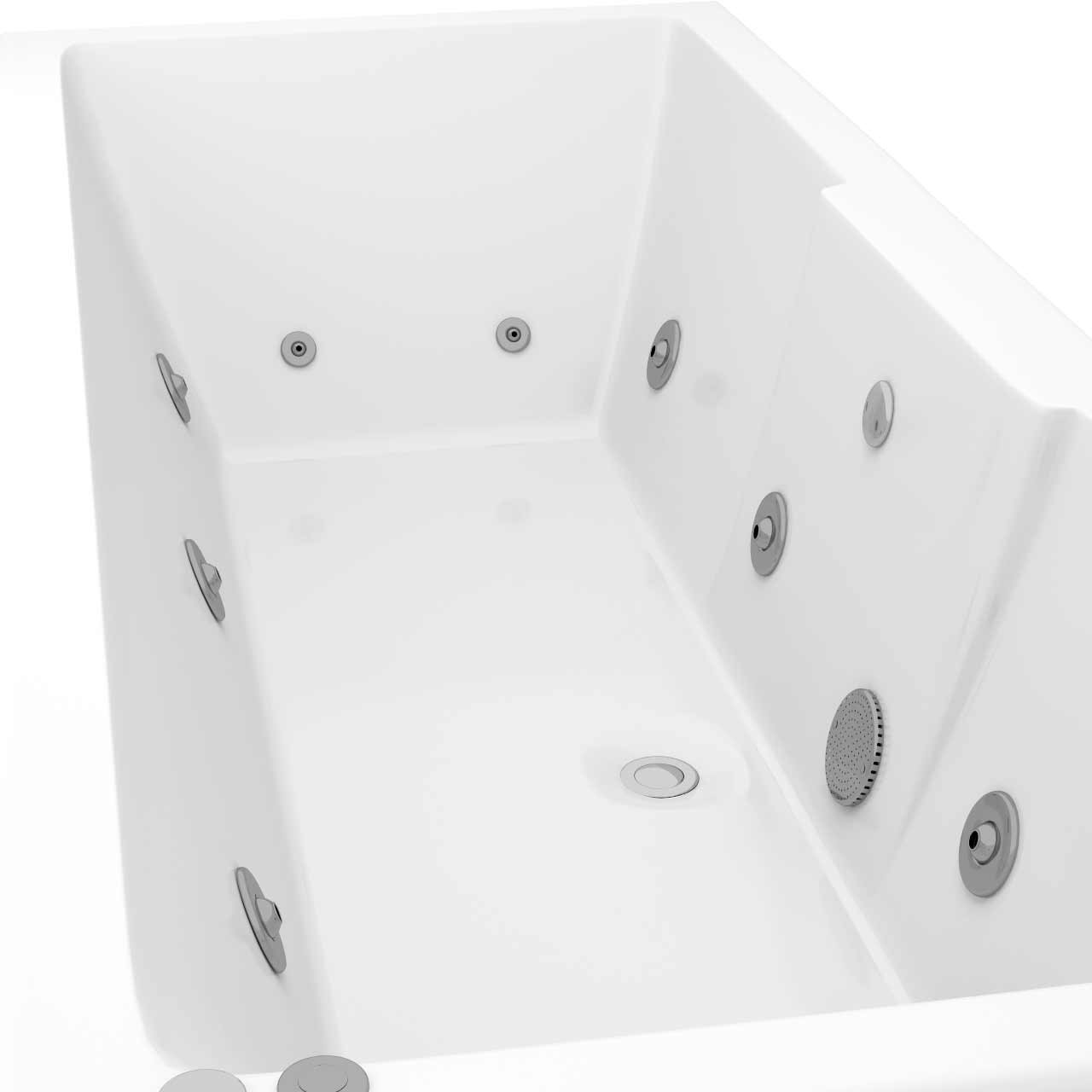 Legend Left Hand 12 Jet Chrome V-Tec Whirlpool Bath 1700x700mm