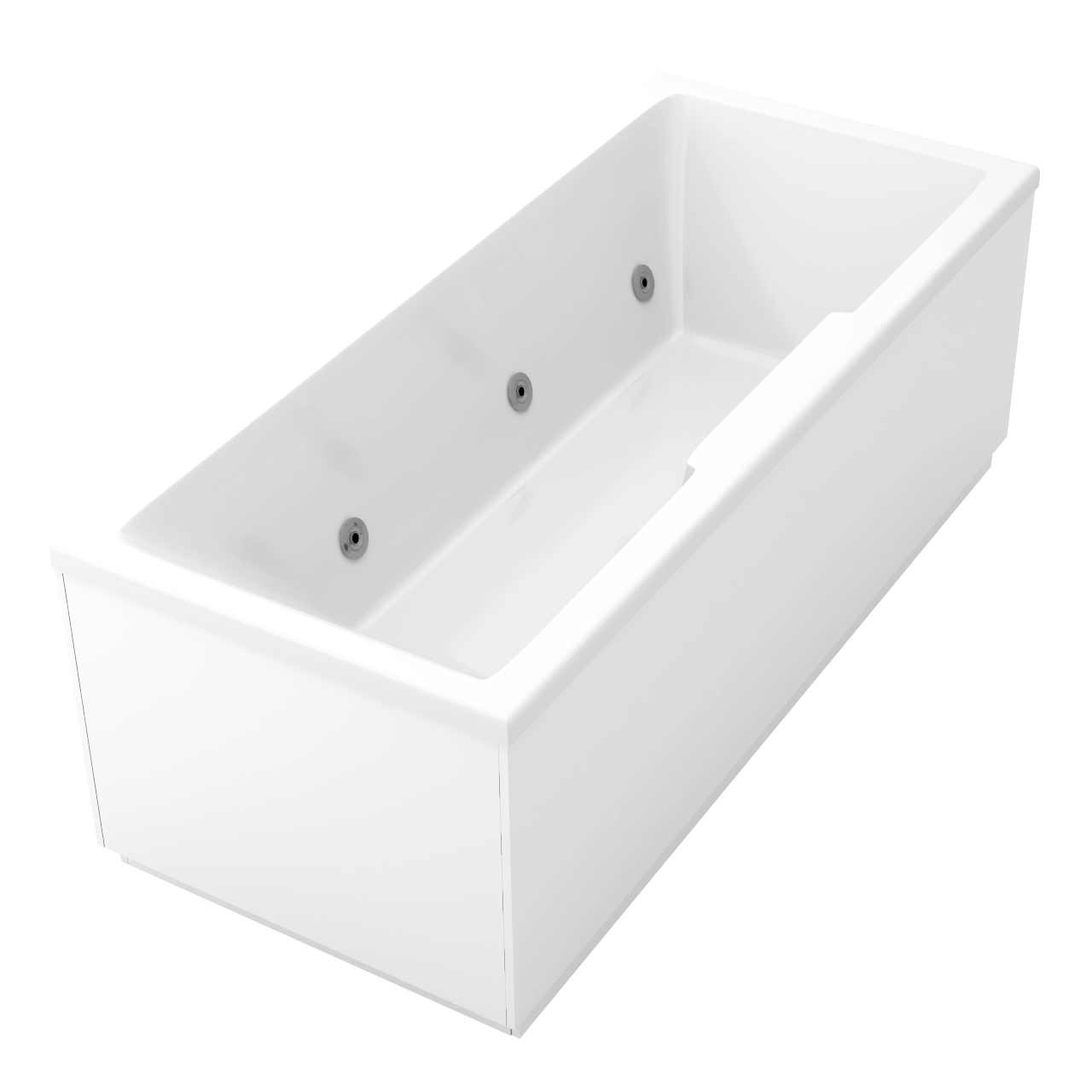 Legend Left Hand 6 Jet Chrome Flat Jet Whirlpool Bath 1600x700mm
