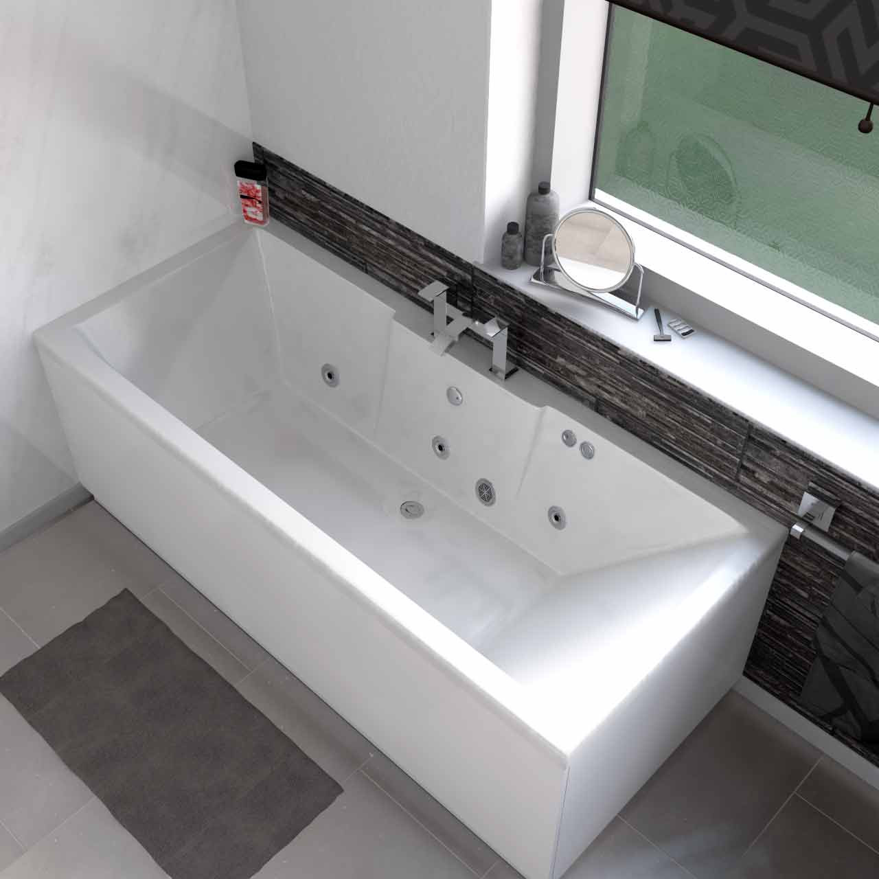 Legend Left Hand 6 Jet Chrome Flat Jet Whirlpool Bath 1700x750mm