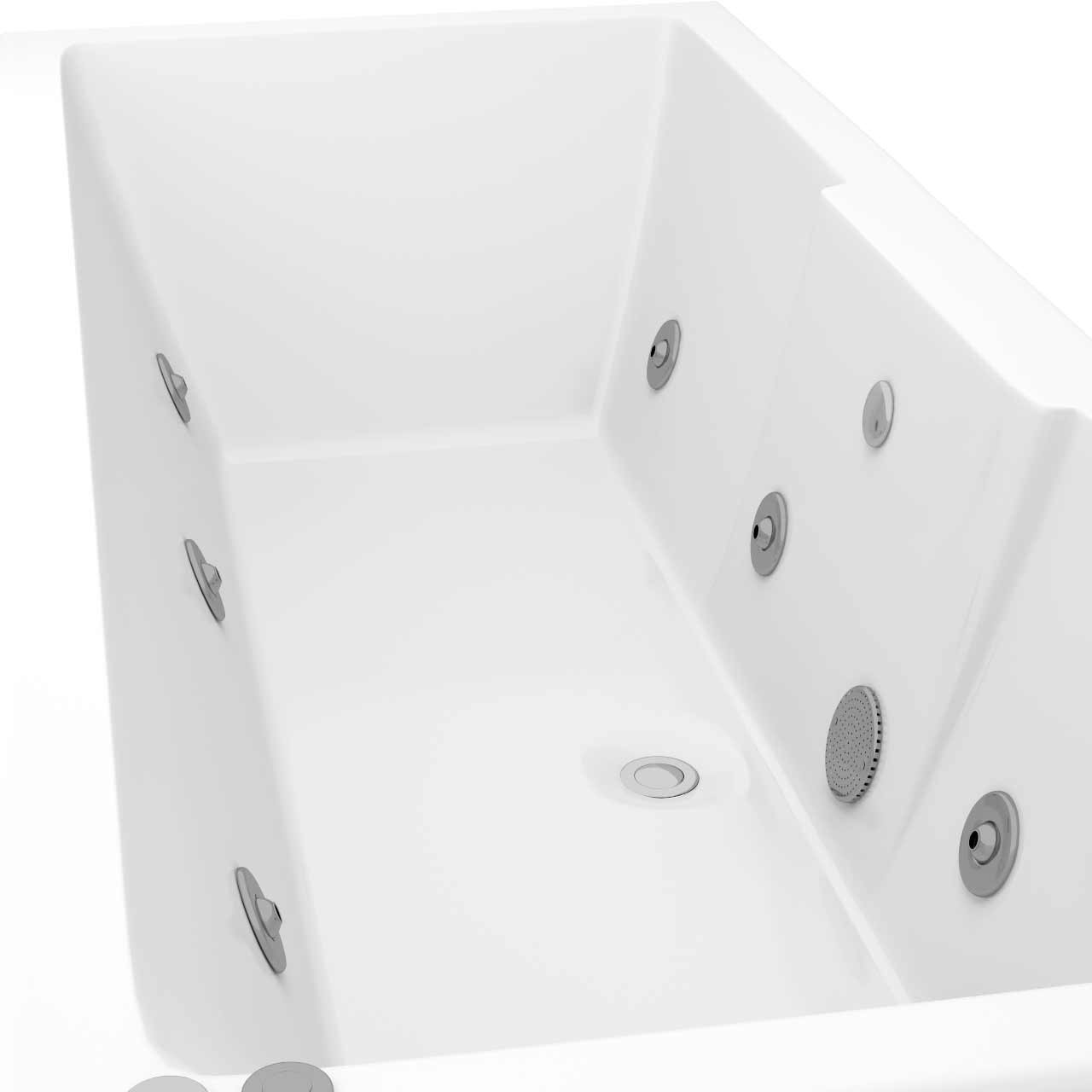 Legend Left Hand 6 Jet Chrome V-Tec Whirlpool Bath 1700x700mm