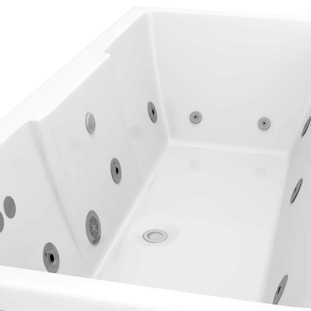 Legend Right Hand 12 Jet Chrome Flat Jet Whirlpool Bath 1500x700mm