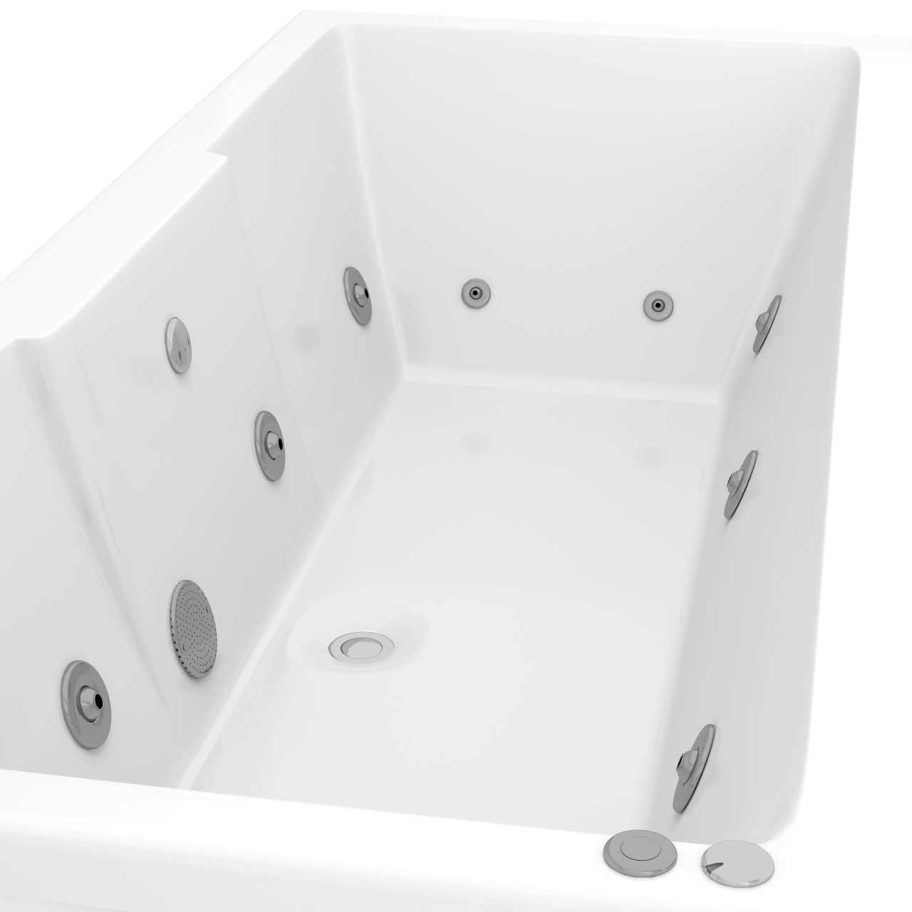Legend Right Hand 12 Jet Chrome V-Tec Whirlpool Bath 1600x700mm