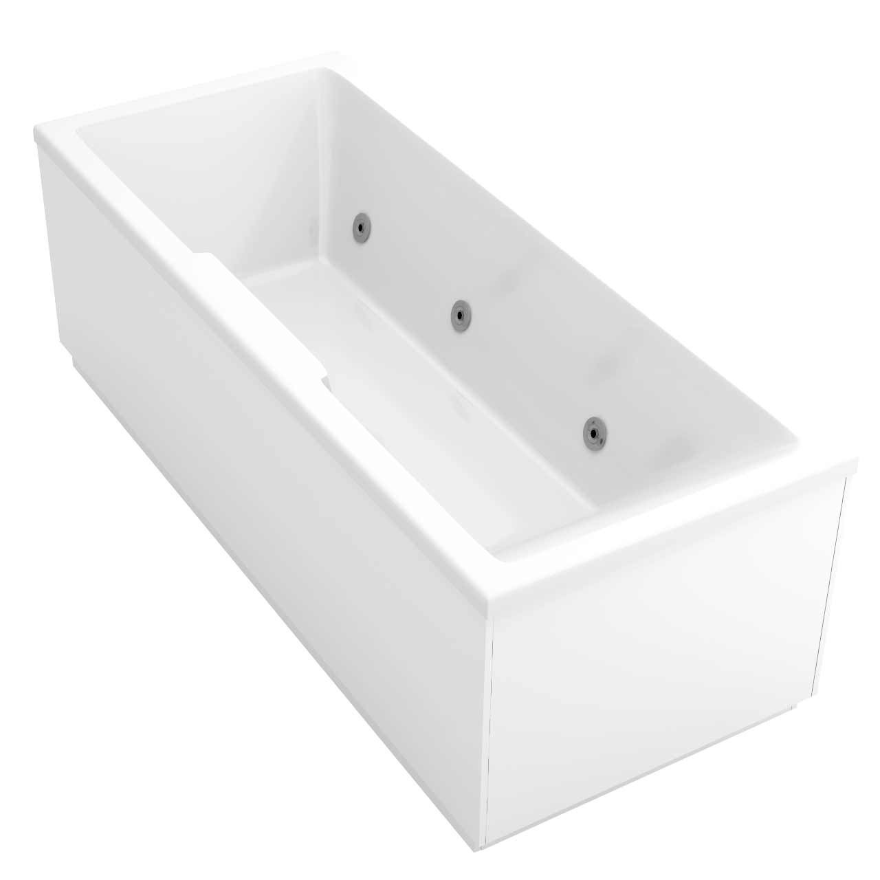 Legend Right Hand 6 Jet Chrome Flat Jet Whirlpool Bath 1700x700mm