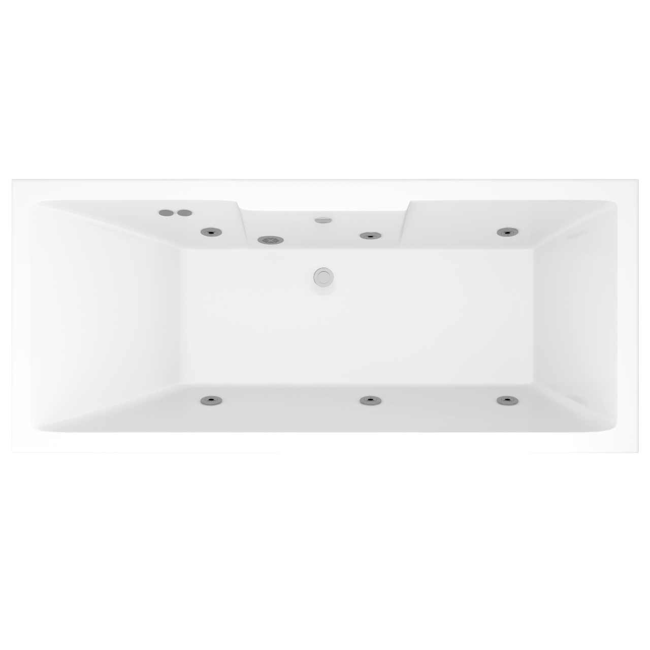 Legend Right Hand 6 Jet Chrome Flat Jet Whirlpool Bath 1700x750mm