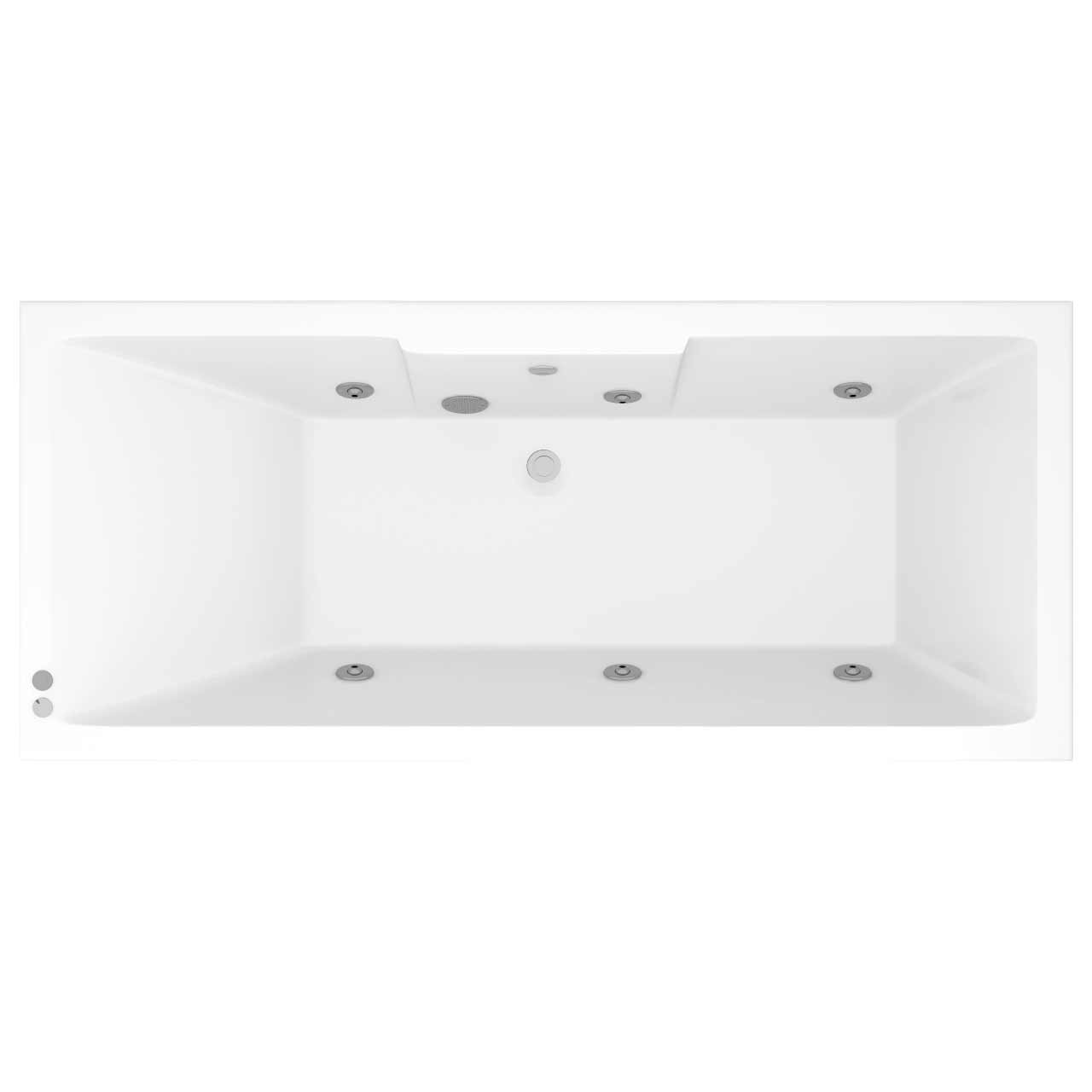 Legend Right Hand 6 Jet Chrome V-Tec Whirlpool Bath 1700x750mm