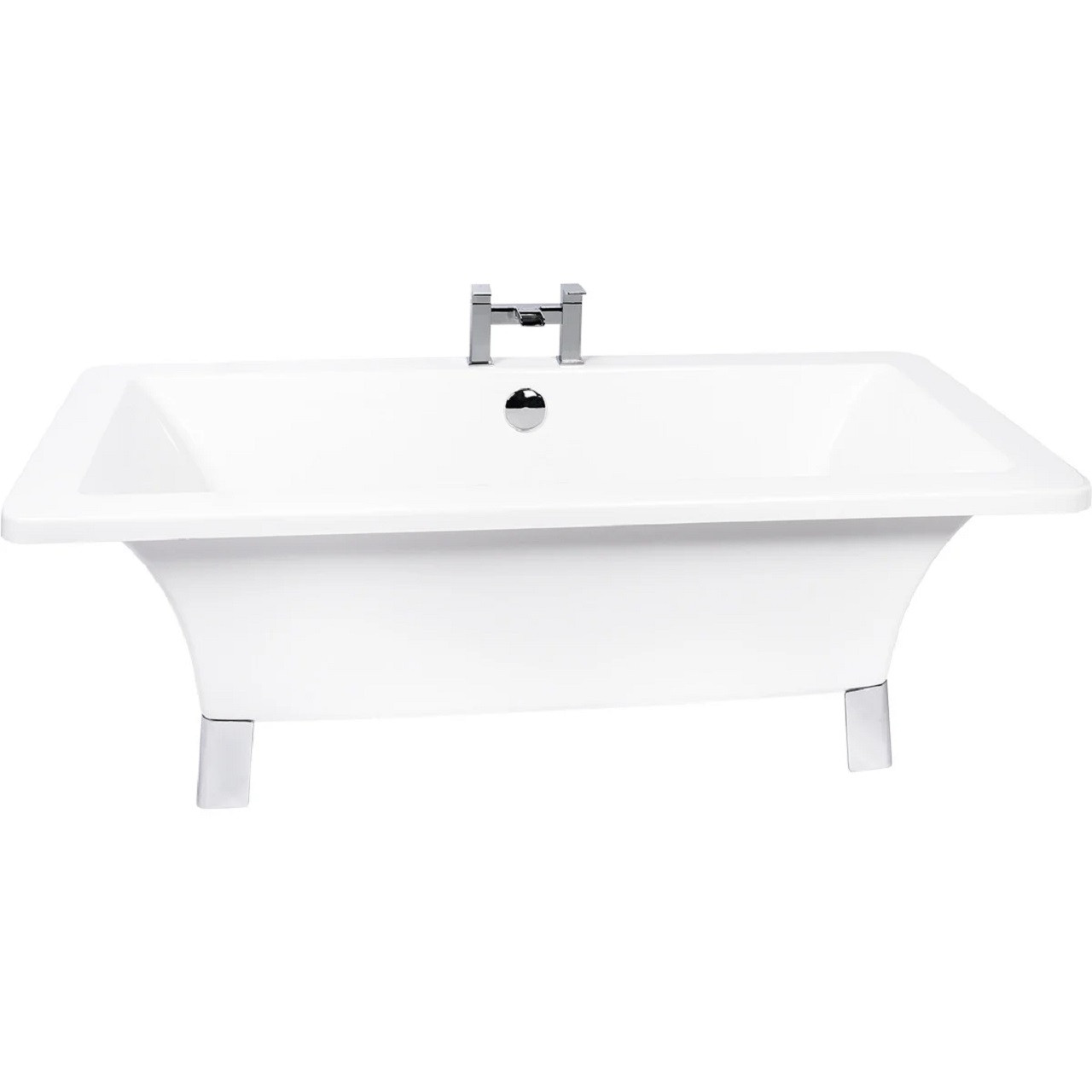 Livorno 1590mm x 745mm Double Ended Freestanding Bath with Chrome Square Feet