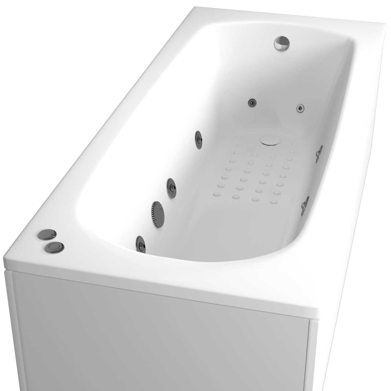 Monte Carlo Anti Slip Textured Base End Tap 12 Jet Chrome V-Tec Whirlpool Bath 1700x700mm