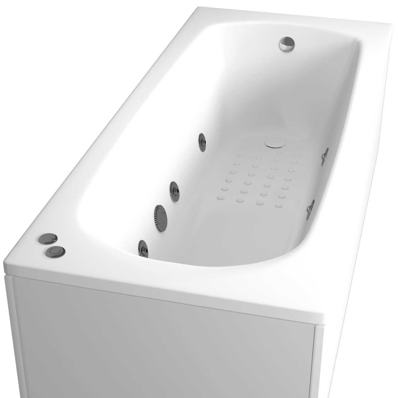 Monte Carlo Anti Slip Textured Base End Tap 6 Jet Chrome V-Tec Whirlpool Bath 1700x700mm