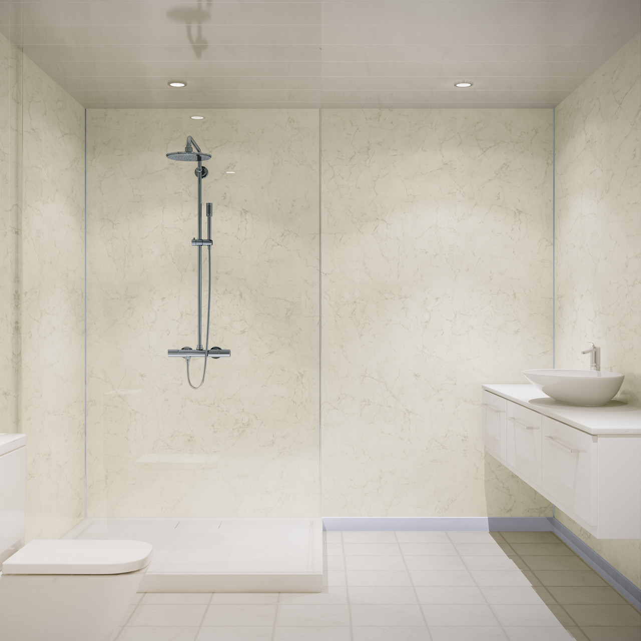 Multipanel Classic Grey Marble 2400mm x 598mm Hydro-Lock Tongue & Groove Bathroom Wall Panel