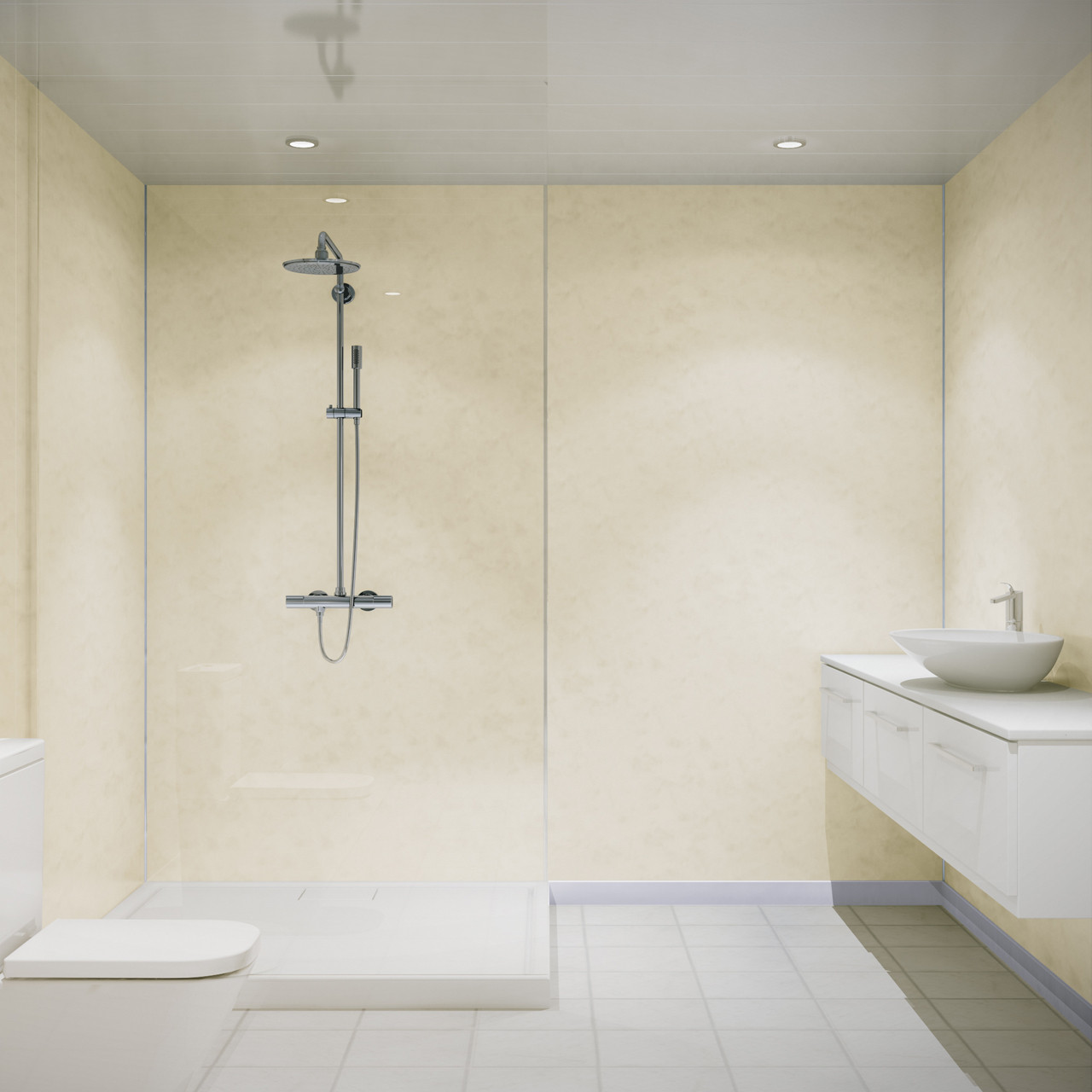 Multipanel Classic Natural India 2400mm x 598mm Hydro-Lock Tongue & Groove Bathroom Wall Panel