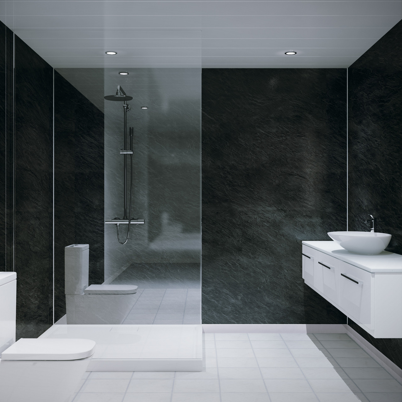 Multipanel Classic Riven Slate 2400mm x 1200mm Hydro-Lock Tongue & Groove Bathroom Wall Panel