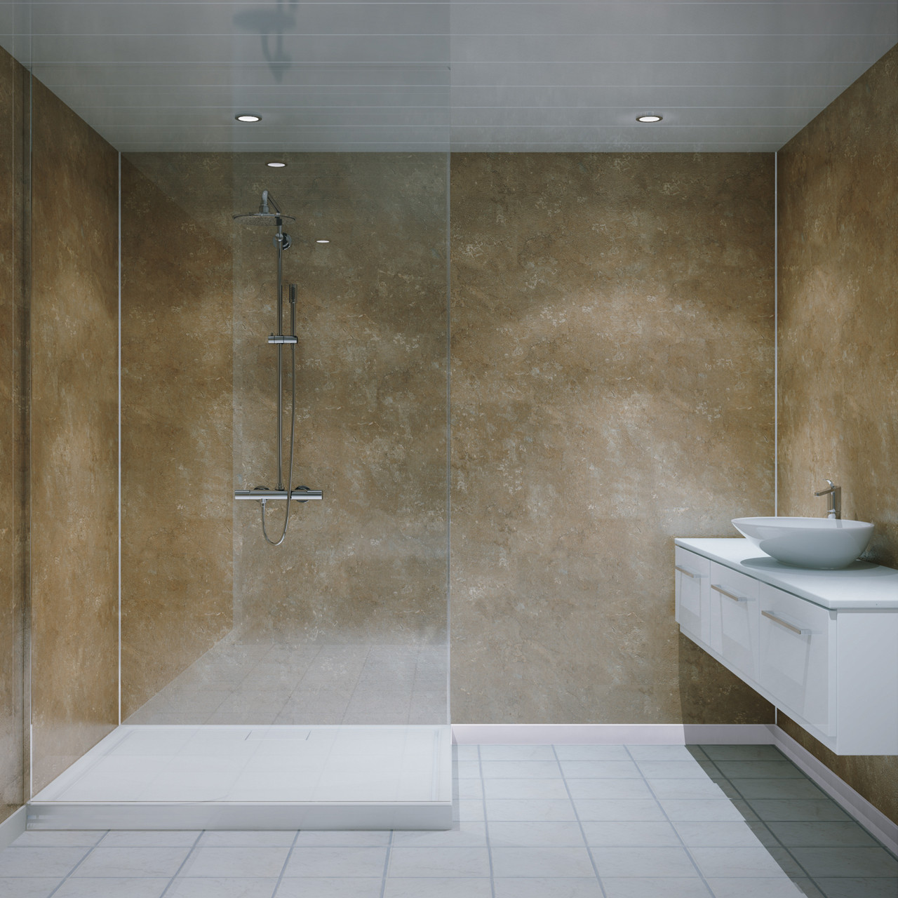 Multipanel Classic Travertine 2400mm x 598mm Unlipped Bathroom Wall Panel