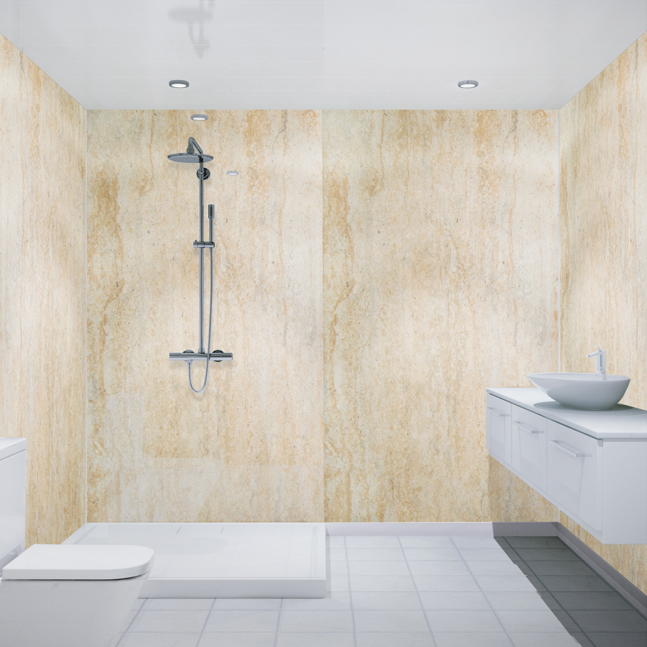 Multipanel Economy Pack of 2 Aruban Sand 2400mm x 1000mm Bathroom Wall Panels
