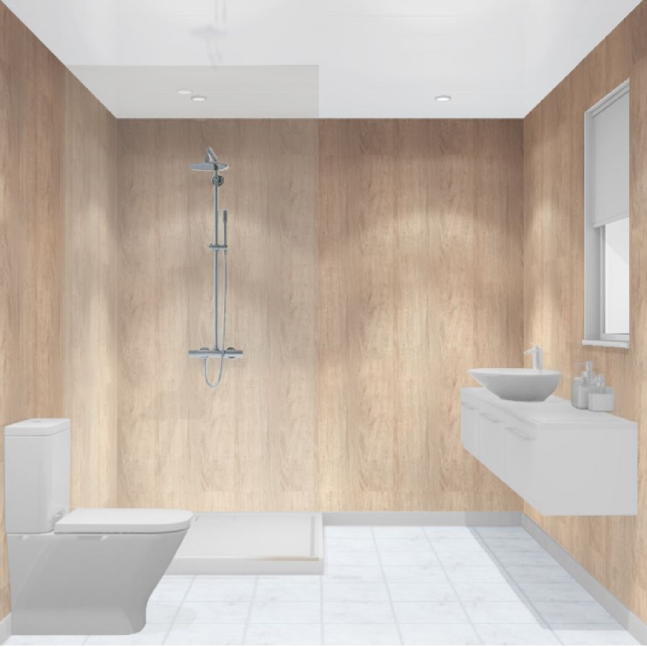 Multipanel Heritage Alabaster Oak Hydro-Lock Tongue & Groove Bathroom Wall Panel