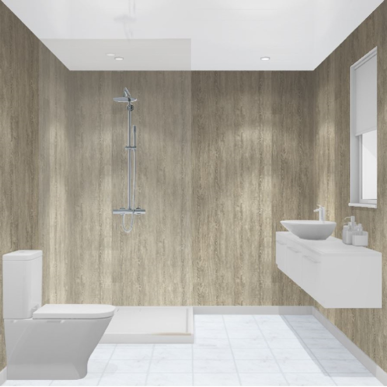 Multipanel Heritage Delano Oak Hydro-Lock Tongue & Groove Bathroom Wall Panel