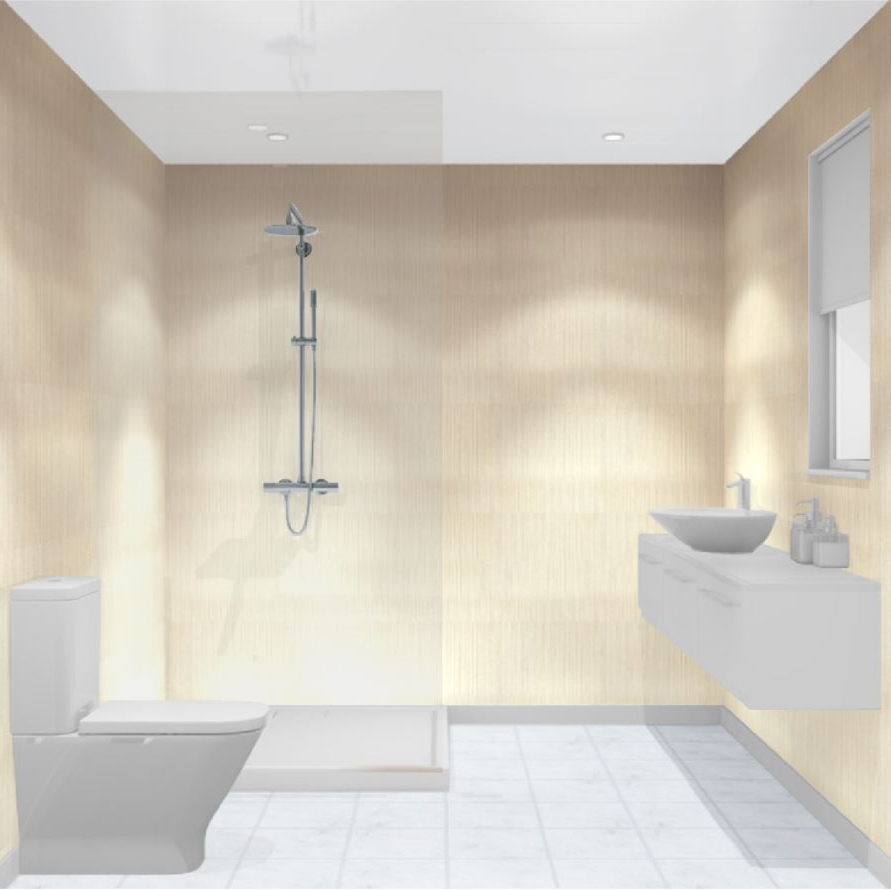 Multipanel Heritage Neutral Twill Unlipped Bathroom Wall Panel