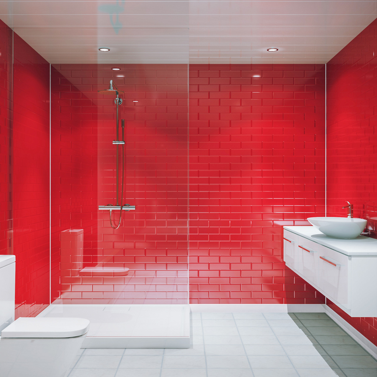 Multipanel Red Vertical Brick Tile 2440mm X 1220mm Bathroom Wall Panel