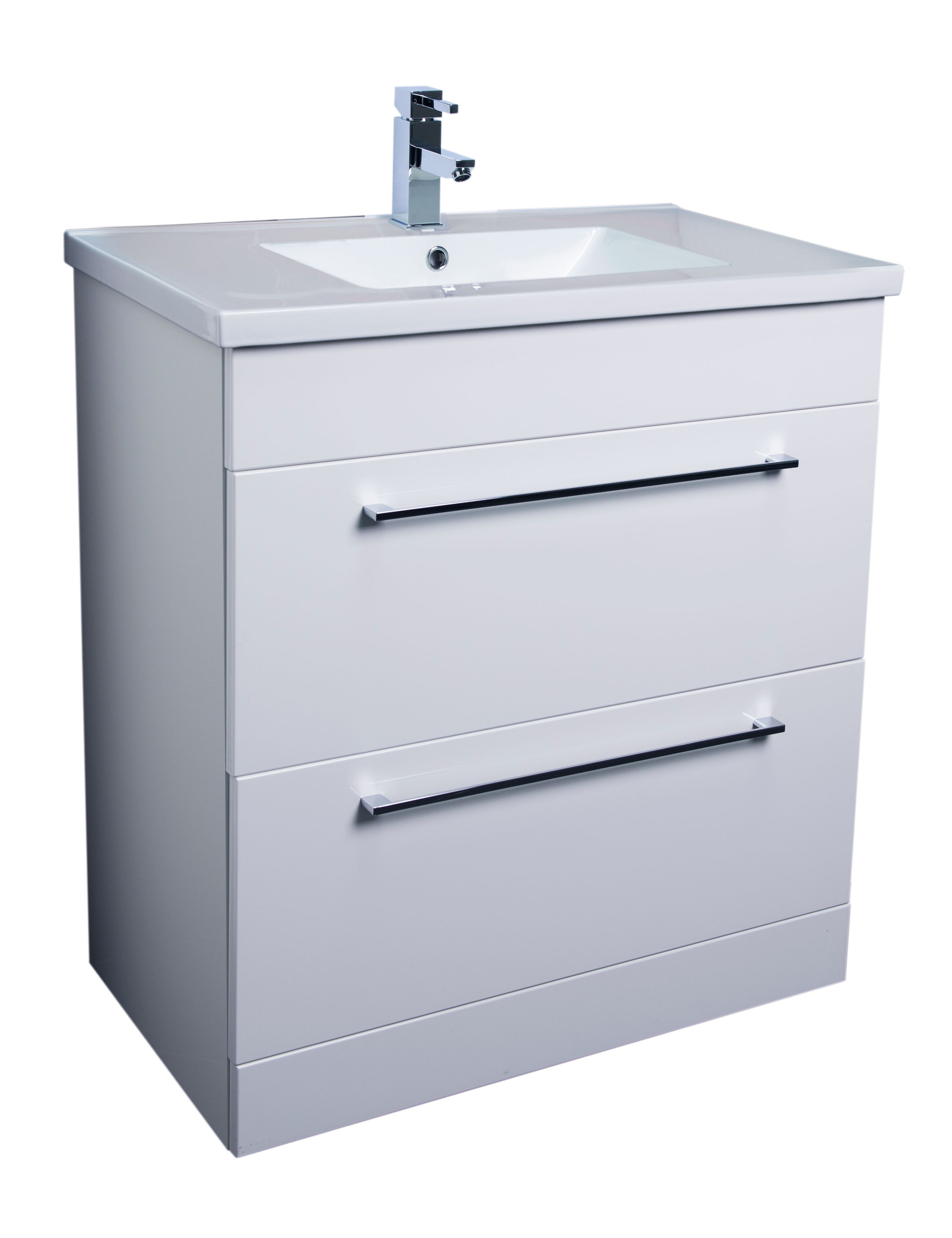 Napoli Gloss White 2 Drawer 800 Unit & Basin