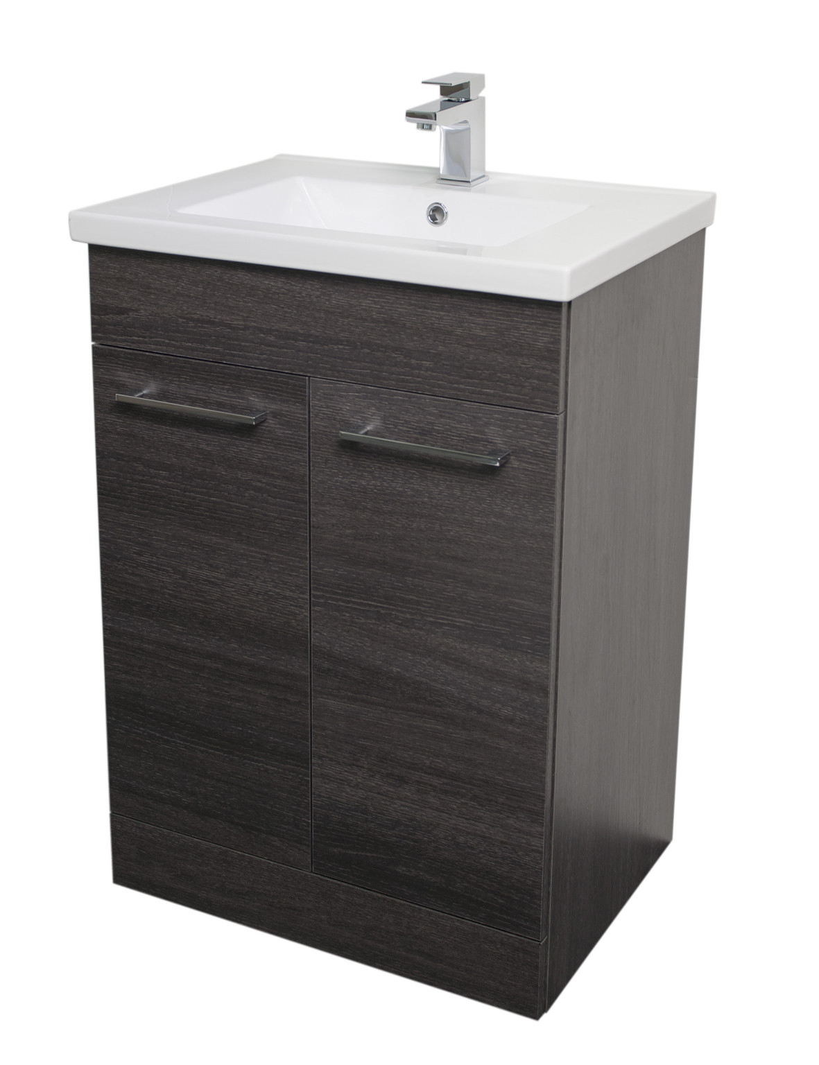 Napoli Black Oak 2 Door 600 Unit & Basin