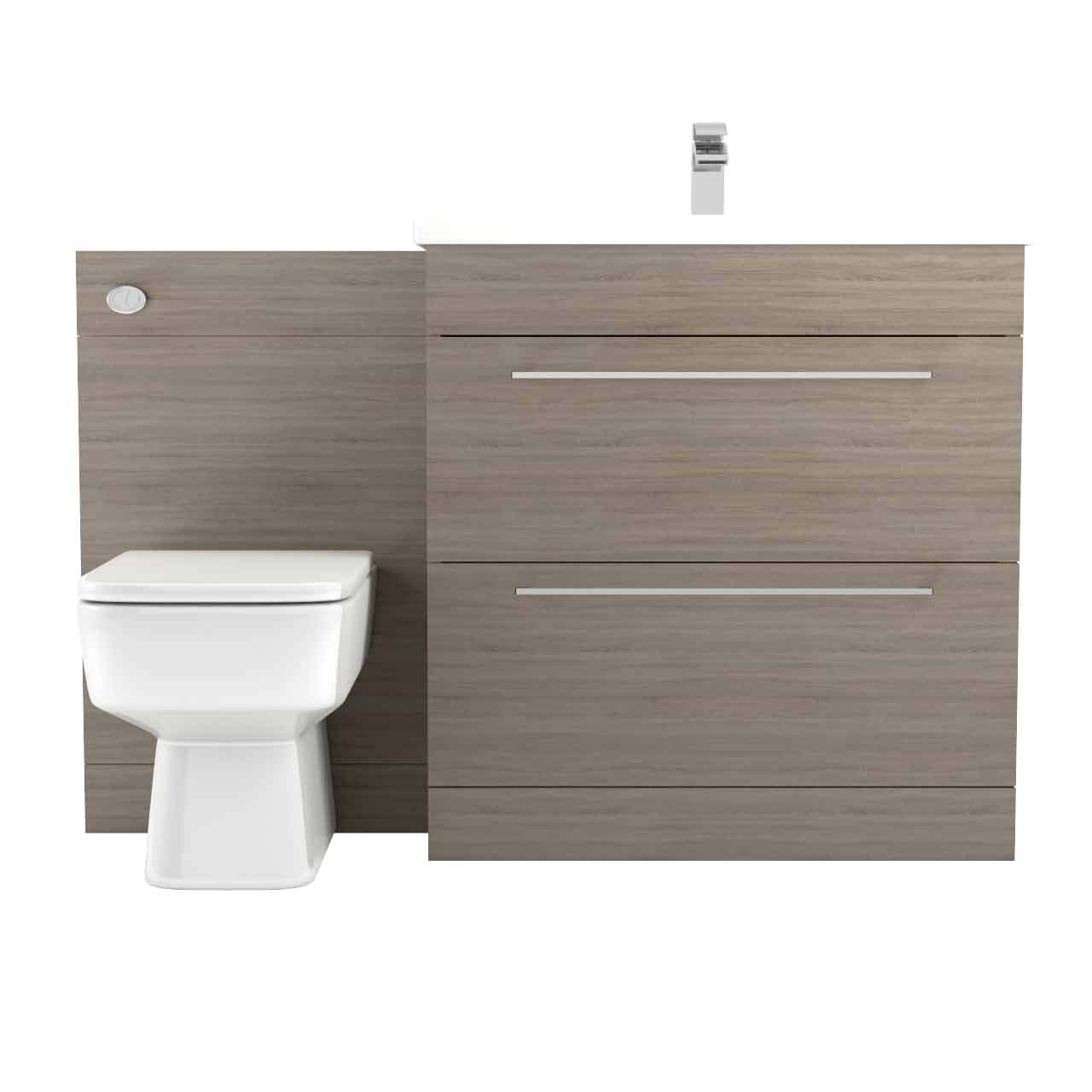 Napoli Bordalino Oak 1300mm 2 Drawer Vanity Unit Toilet Suite