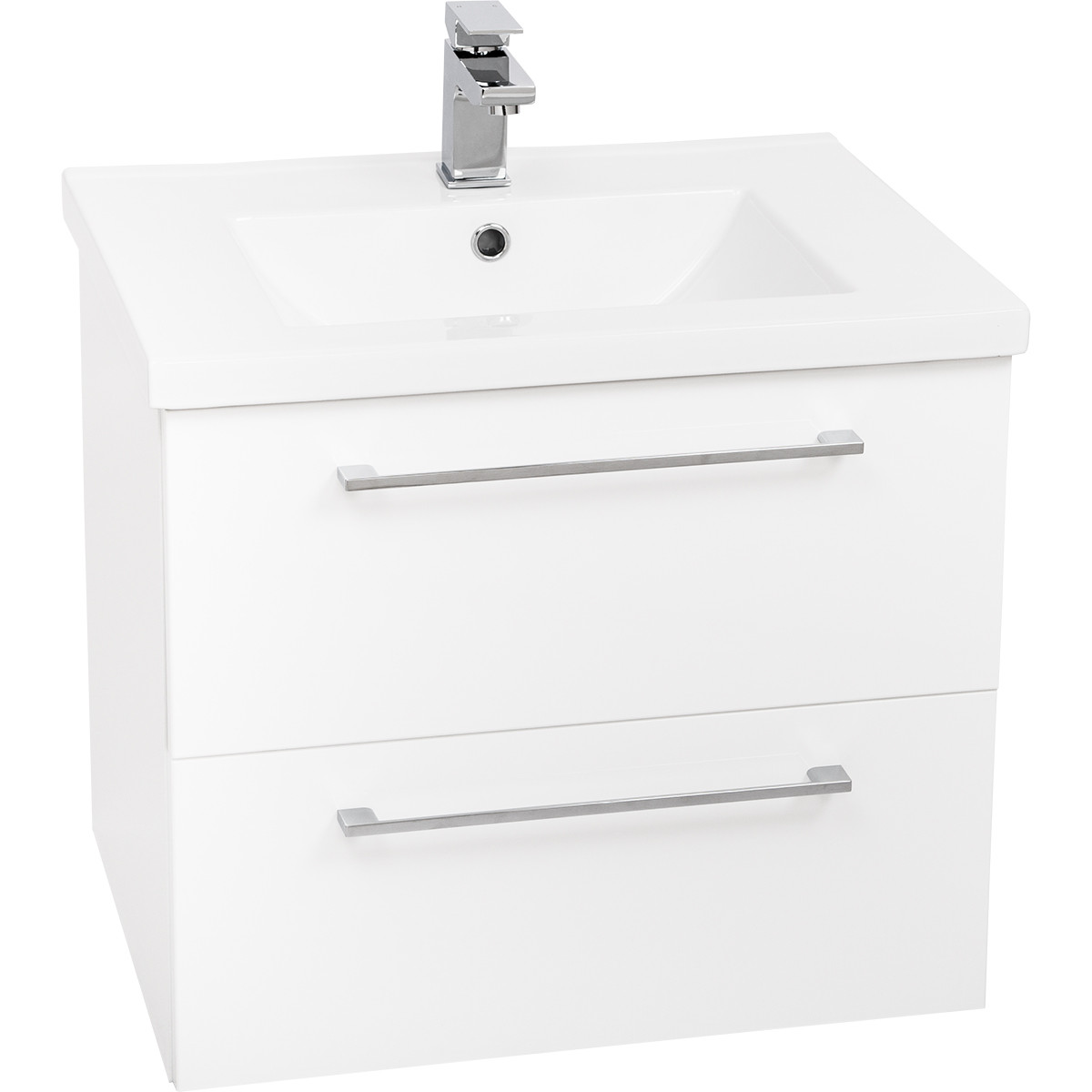 Napoli Gloss White 2 Drawer 600 Wall Mounted Unit & Basin
