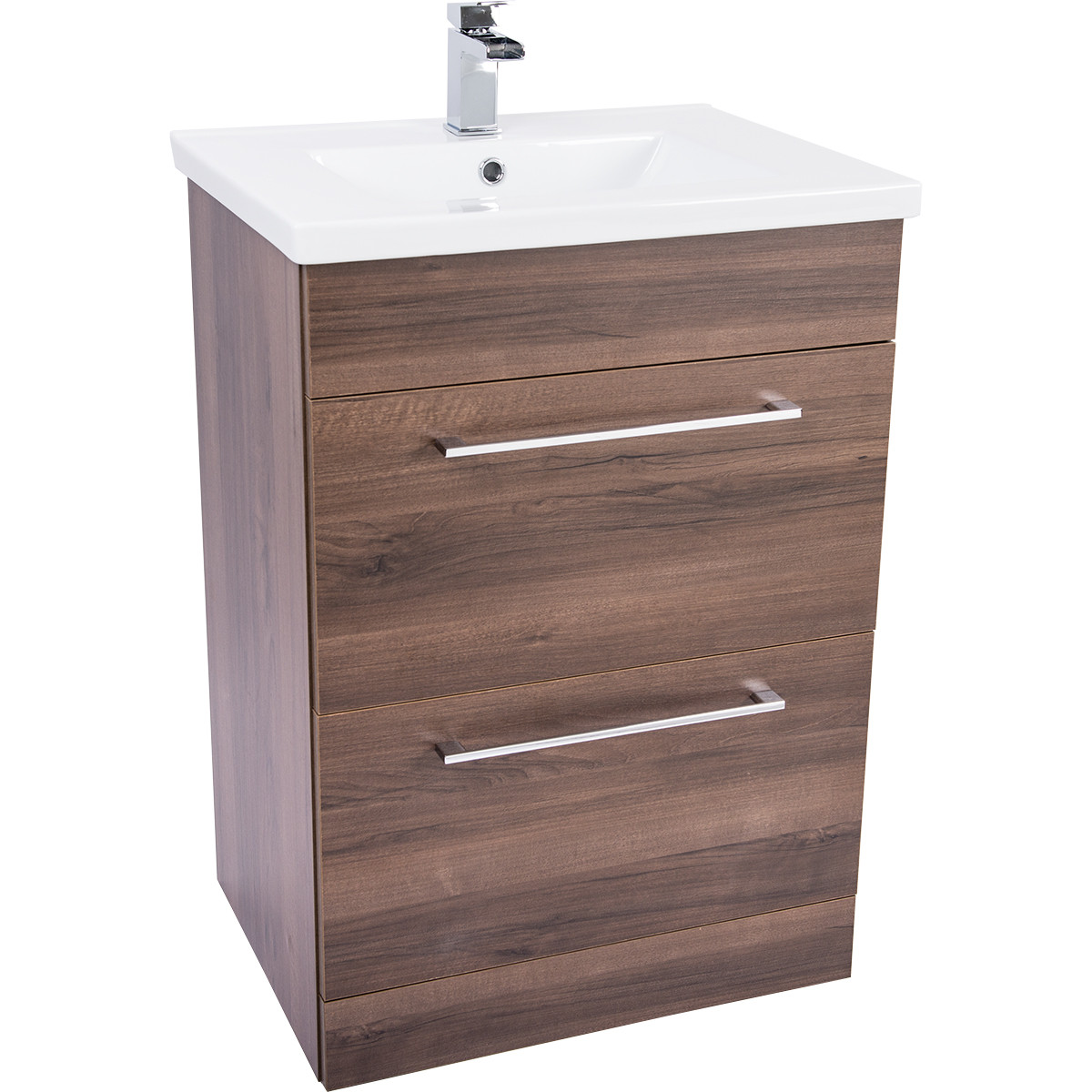 Napoli Walnut 2 Drawer 600 Unit & Basin