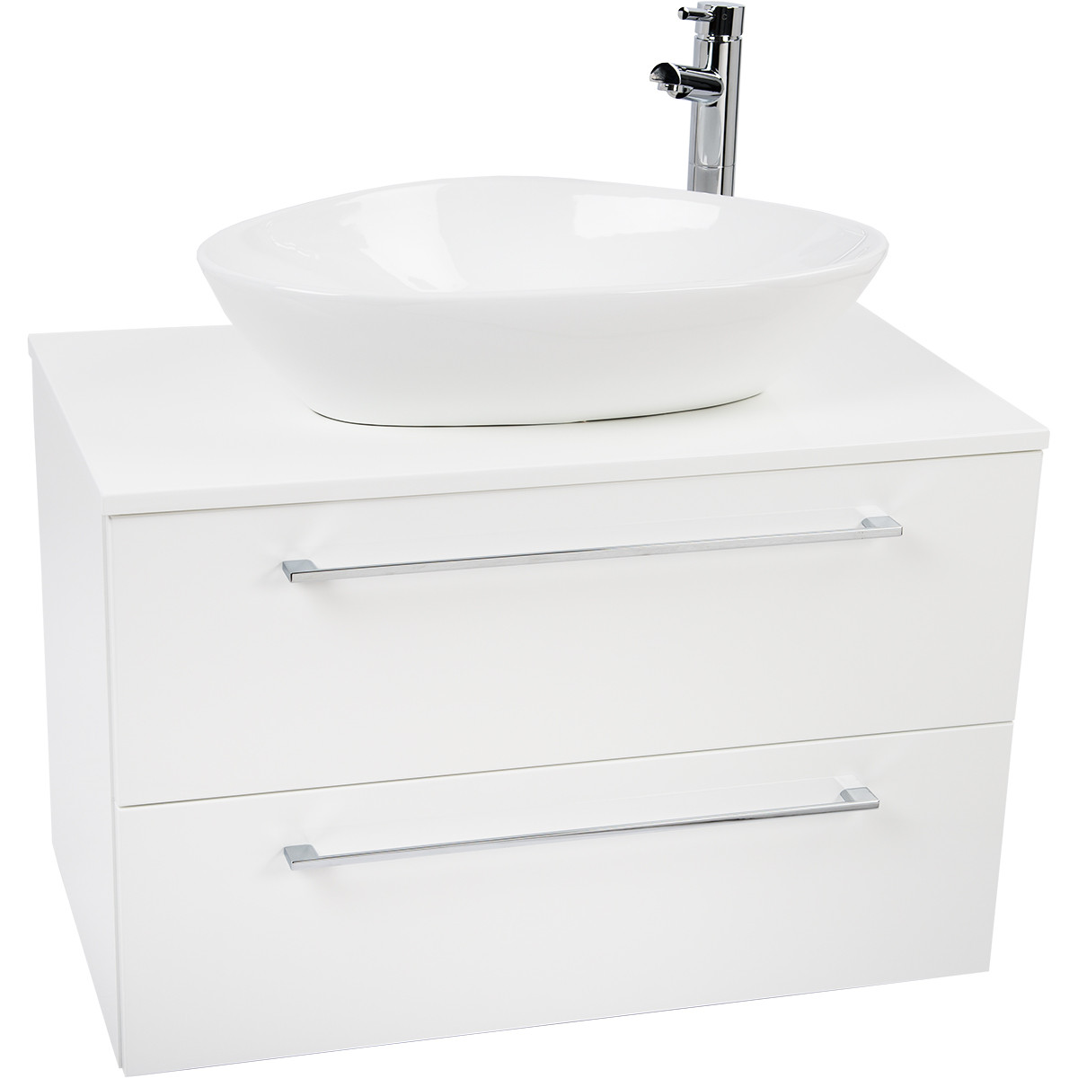 Napoli White 2 Drawer 800 Wall Mounted Unit & Top