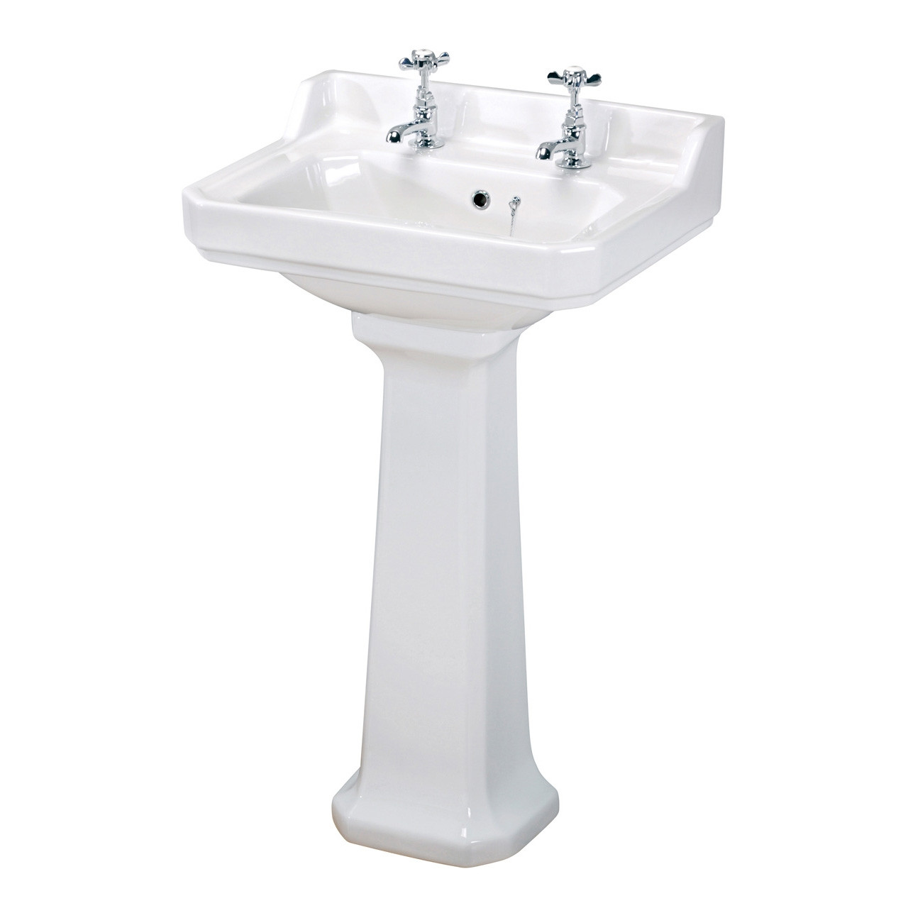 Old London Richmond 600mm Basin with 2 Tap Holes and Pedestal - LDC882