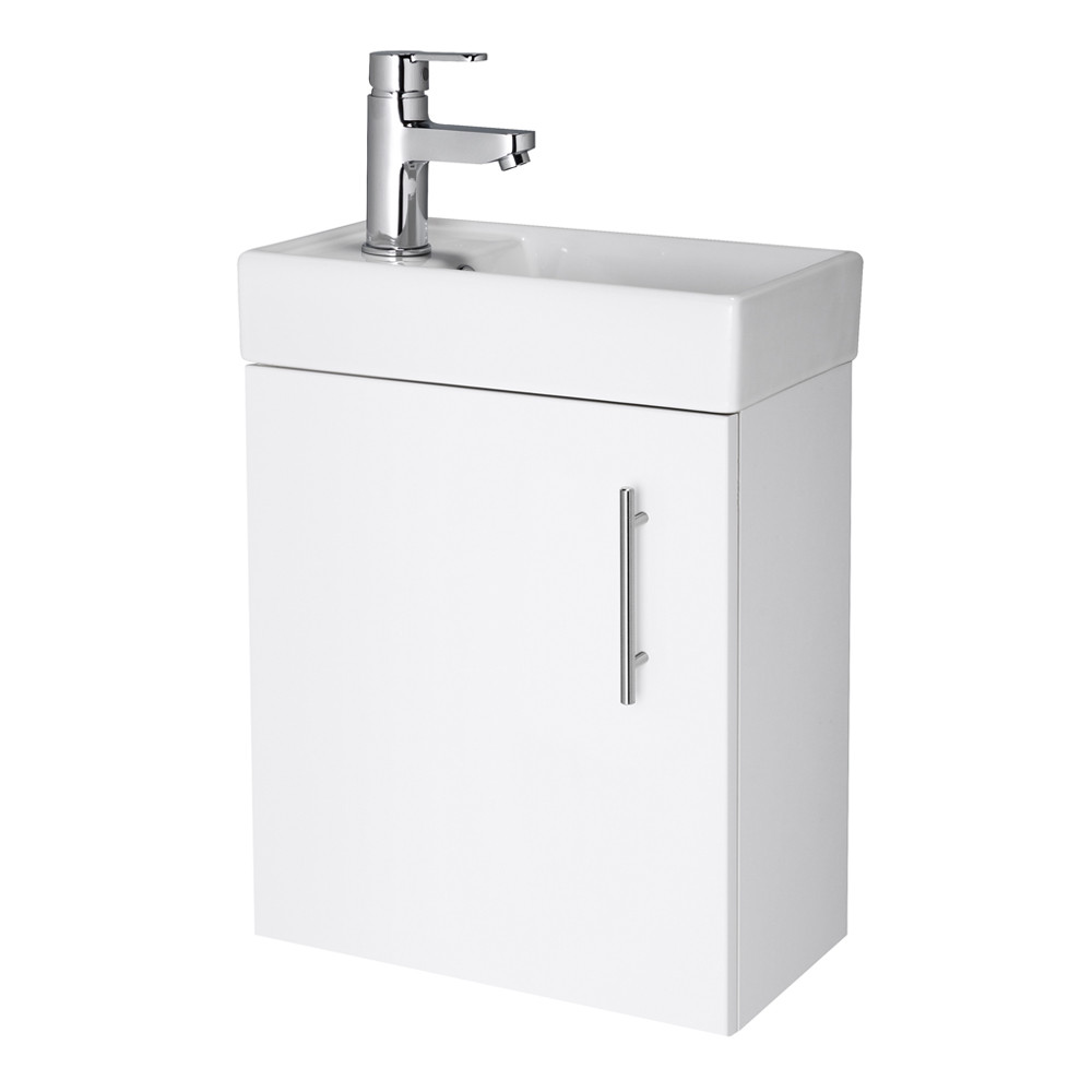Compact Wall Hung White 400mm Basin & Cabinet