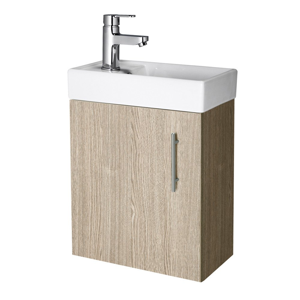 Compact Wall Hung Oak 400mm Basin & Cabinet