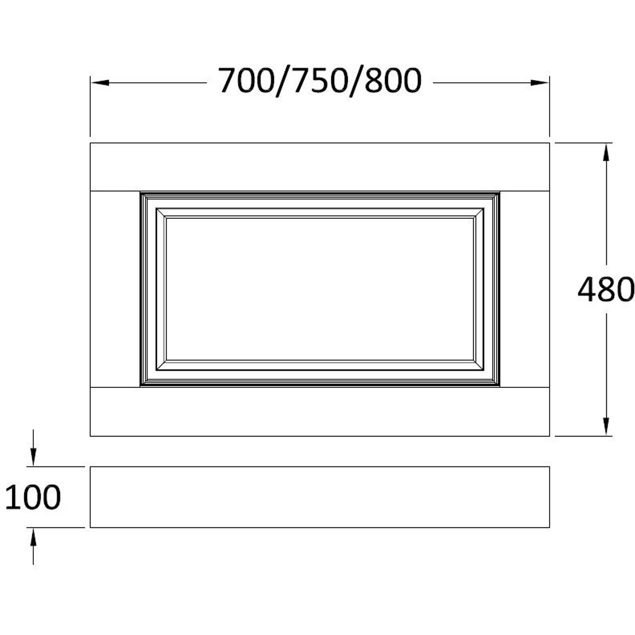 Old London 750 End Panel and Plinth 730mm x 480/100mm - NLP212