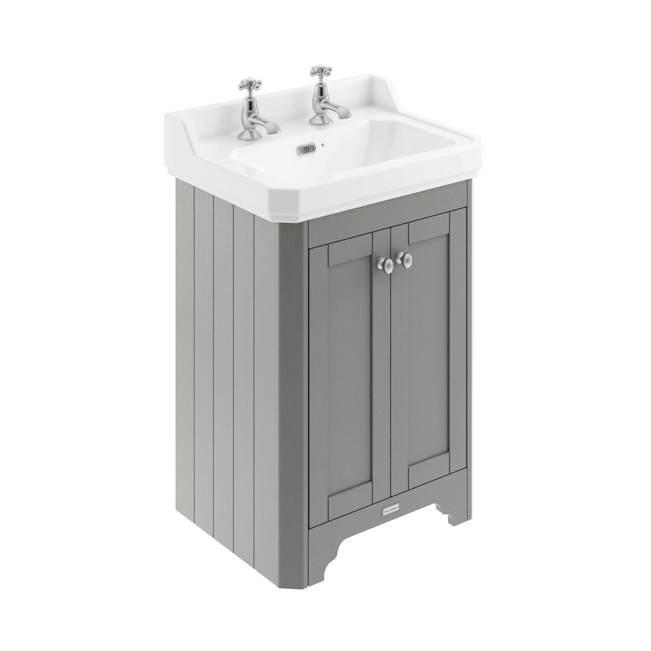 Old London Storm Grey 595mm 2 Door Vanity Unit and Basin with 2 Tap Holes - LOF271
