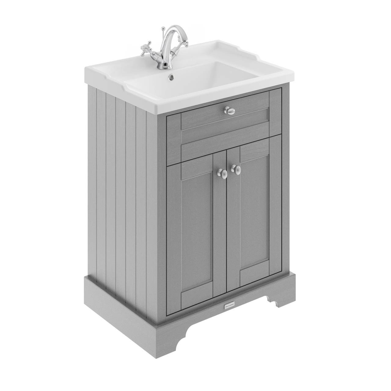 Old London Storm Grey 600mm 2 Door Vanity Unit and Basin with 1 Tap Hole - LOF203