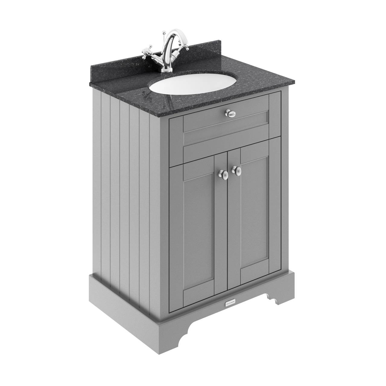 Old London Storm Grey 600mm 2 Door Vanity Unit With Black Marble Top And Basin With 1 Tap Hole Lof221