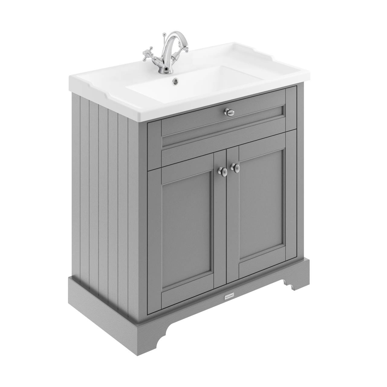 Old London Storm Grey 800mm 2 Door Vanity Unit and Basin with 1 Tap Hole - LOF205