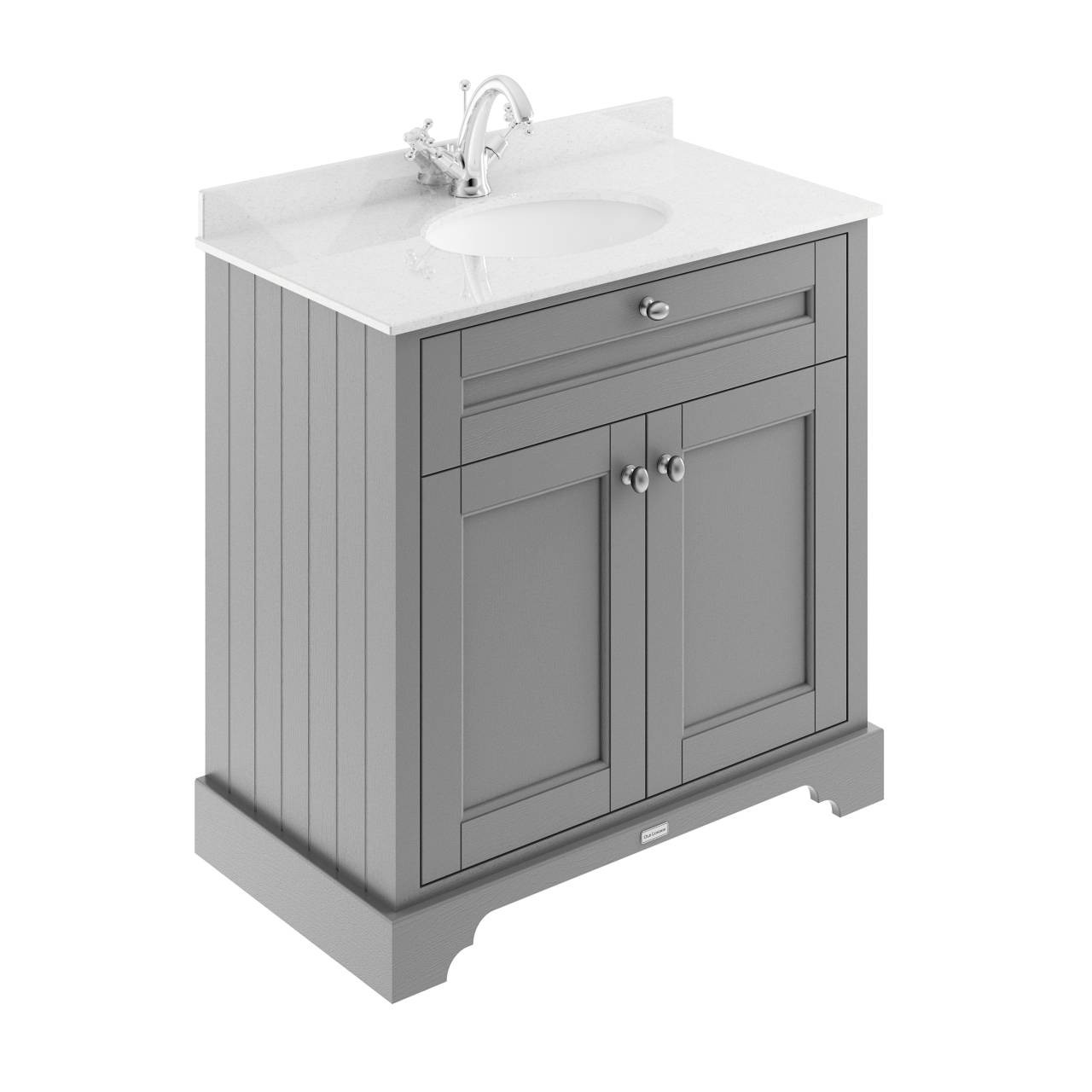 Old London Storm Grey 800mm 2 Door Vanity Unit with White Marble Top and Basin with 1 Tap Hole - LOF228
