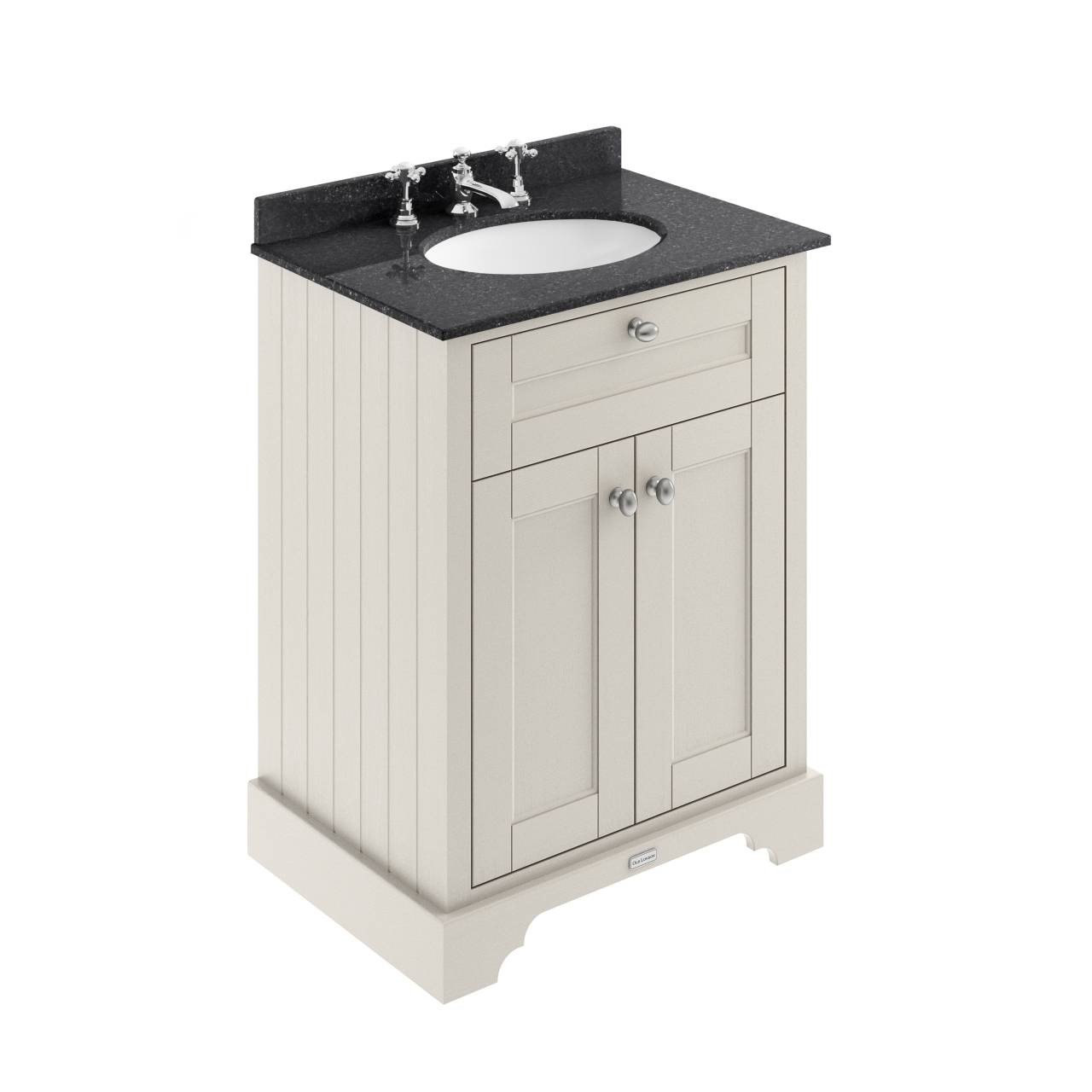 Old London Timeless Sand 600mm 2 Door Vanity Unit with Black Marble Top and Basin with 3 Tap Holes - LOF424