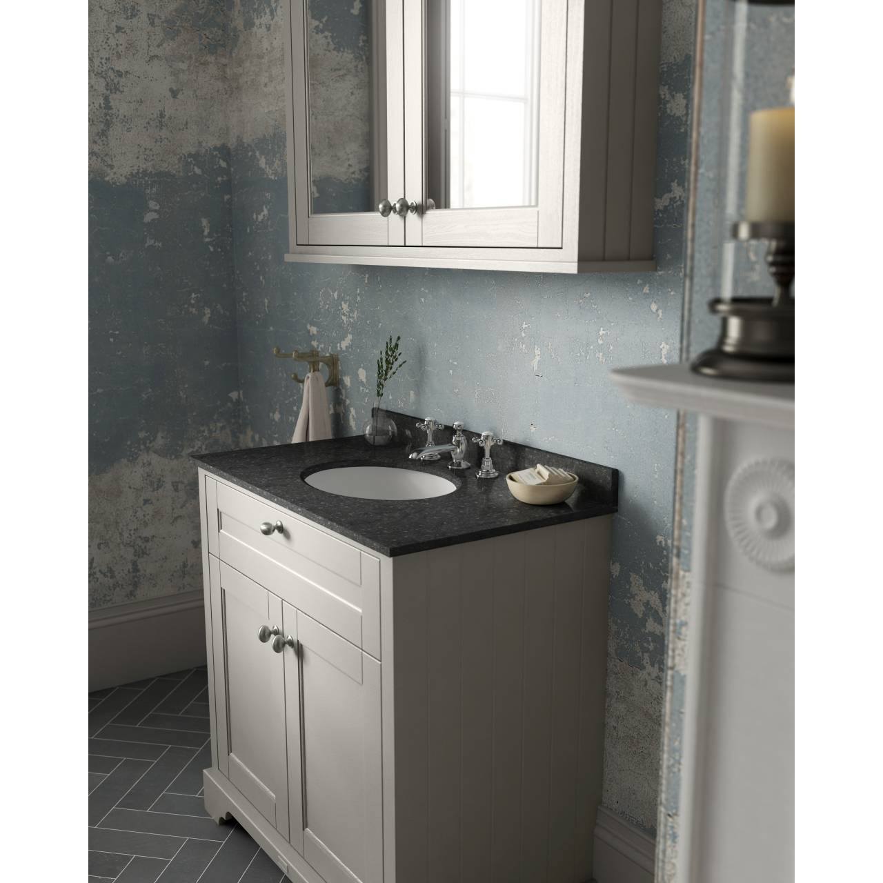 Old London Timeless Sand 800mm 2 Door Vanity Unit With Black Marble Top And Basin 3 Tap Holes Lof430
