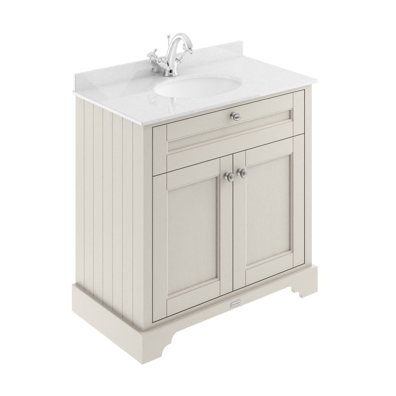 Old London Timeless Sand 800mm 2 Door Vanity Unit With White Marble Top And Basin With 1 Tap Hole Lof428