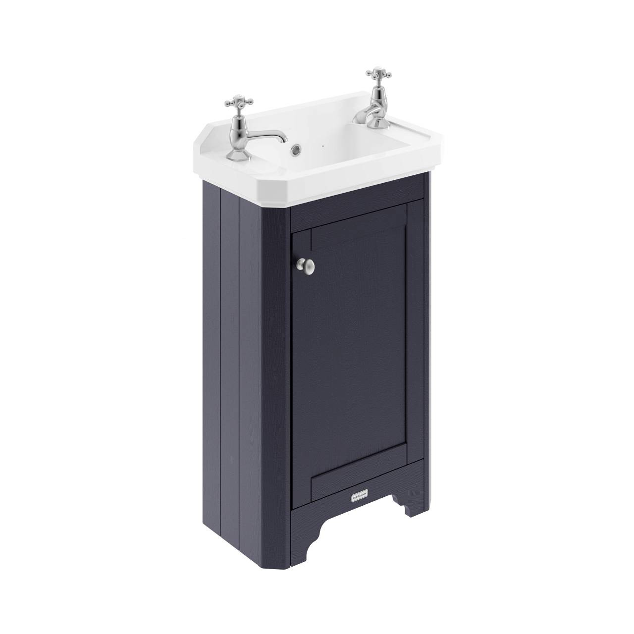 Old London Twilight Blue 515mm Single Door Vanity Unit and Basin with 2 Tap Holes - LOF369