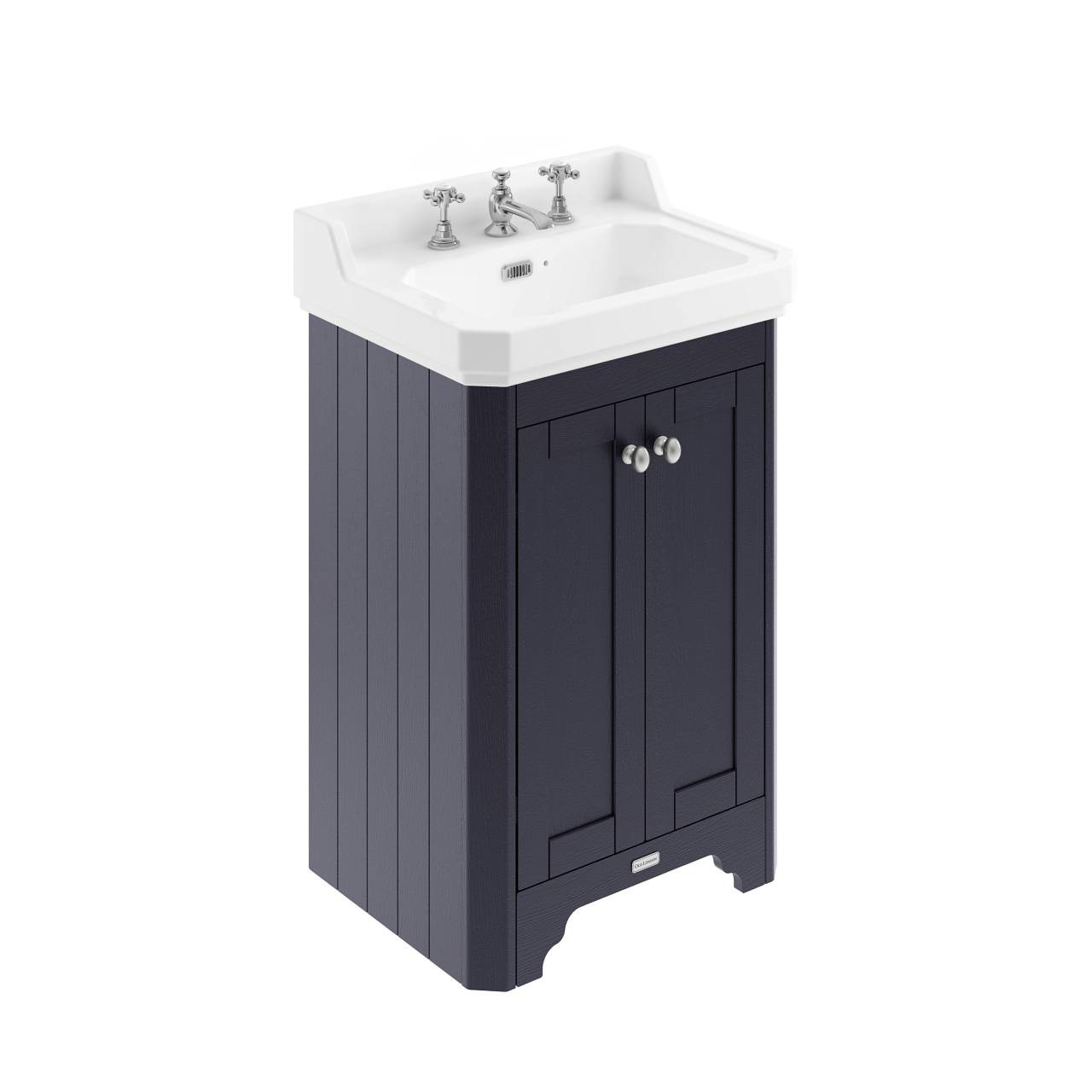 Old London Twilight Blue 560mm 2 Door Vanity Unit and Basin with 3 Tap Holes - LOF375